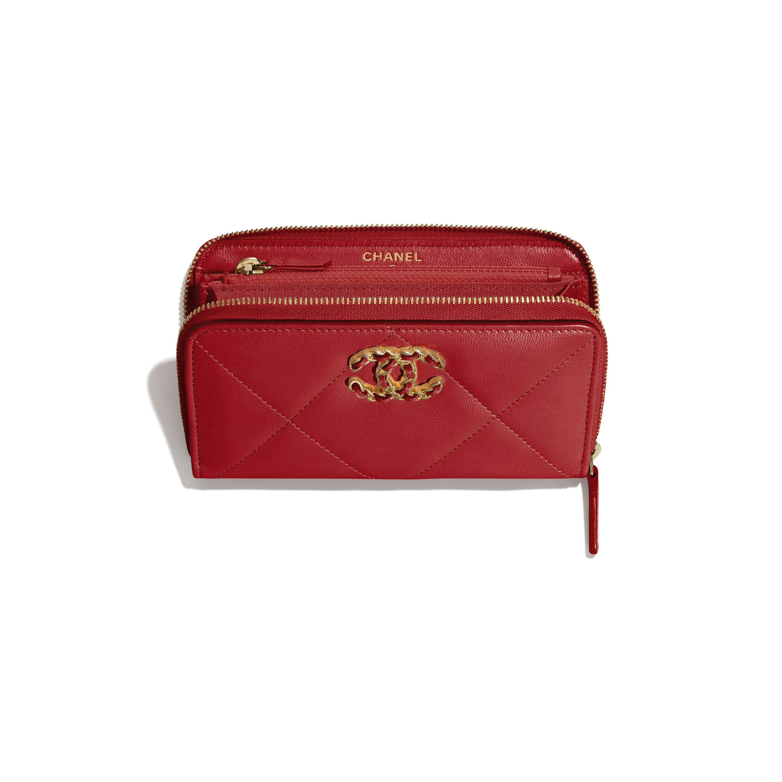 CHANEL 19 Zipped Wallet - Red - Shiny Goatskin, Gold-Tone, Silver-Tone & Ruthenium-Finish Metal - Other view - see standard sized version