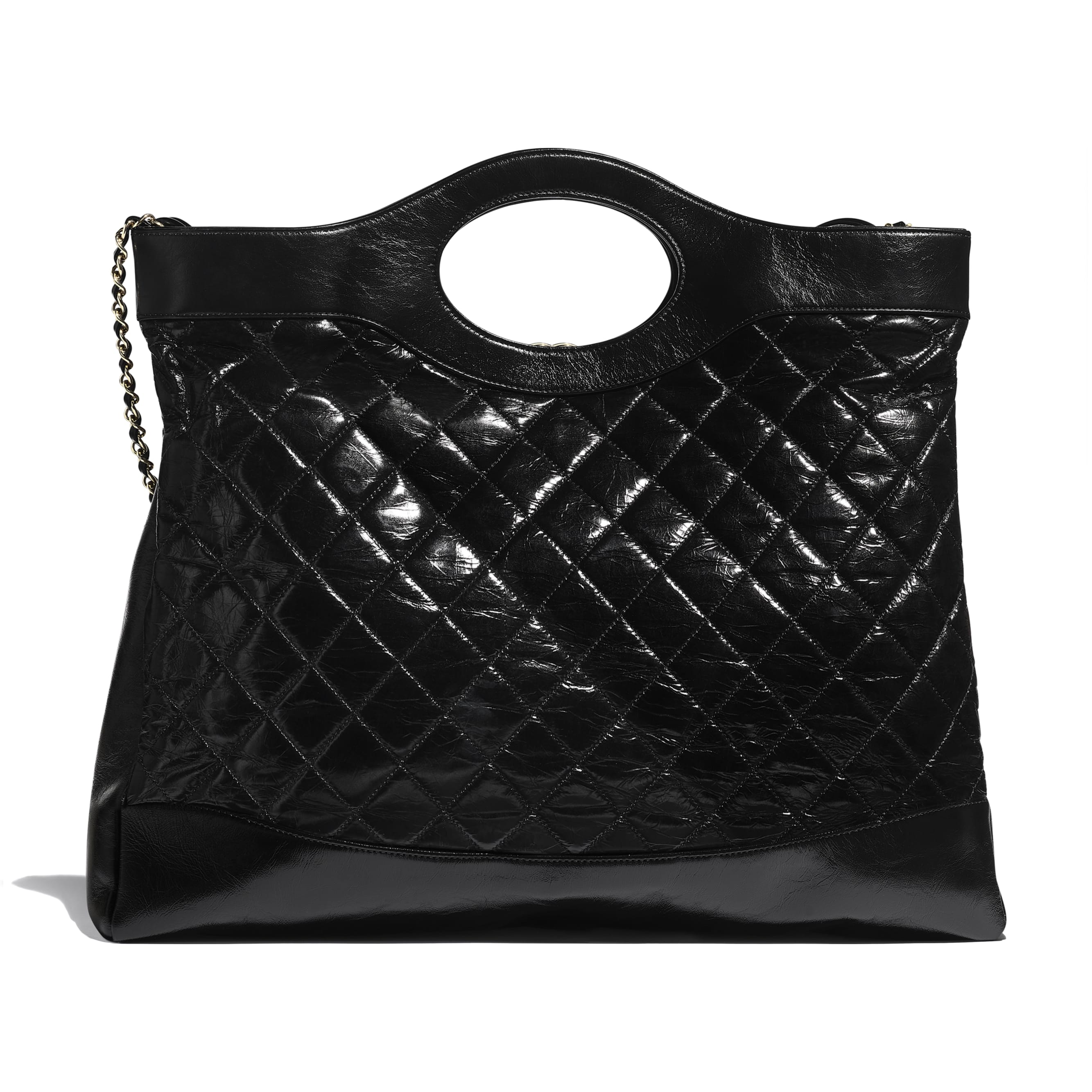 CHANEL 31 Large Shopping Bag - Black - Shiny Crumpled Calfskin & Gold-Tone Metal - Alternative view - see standard sized version