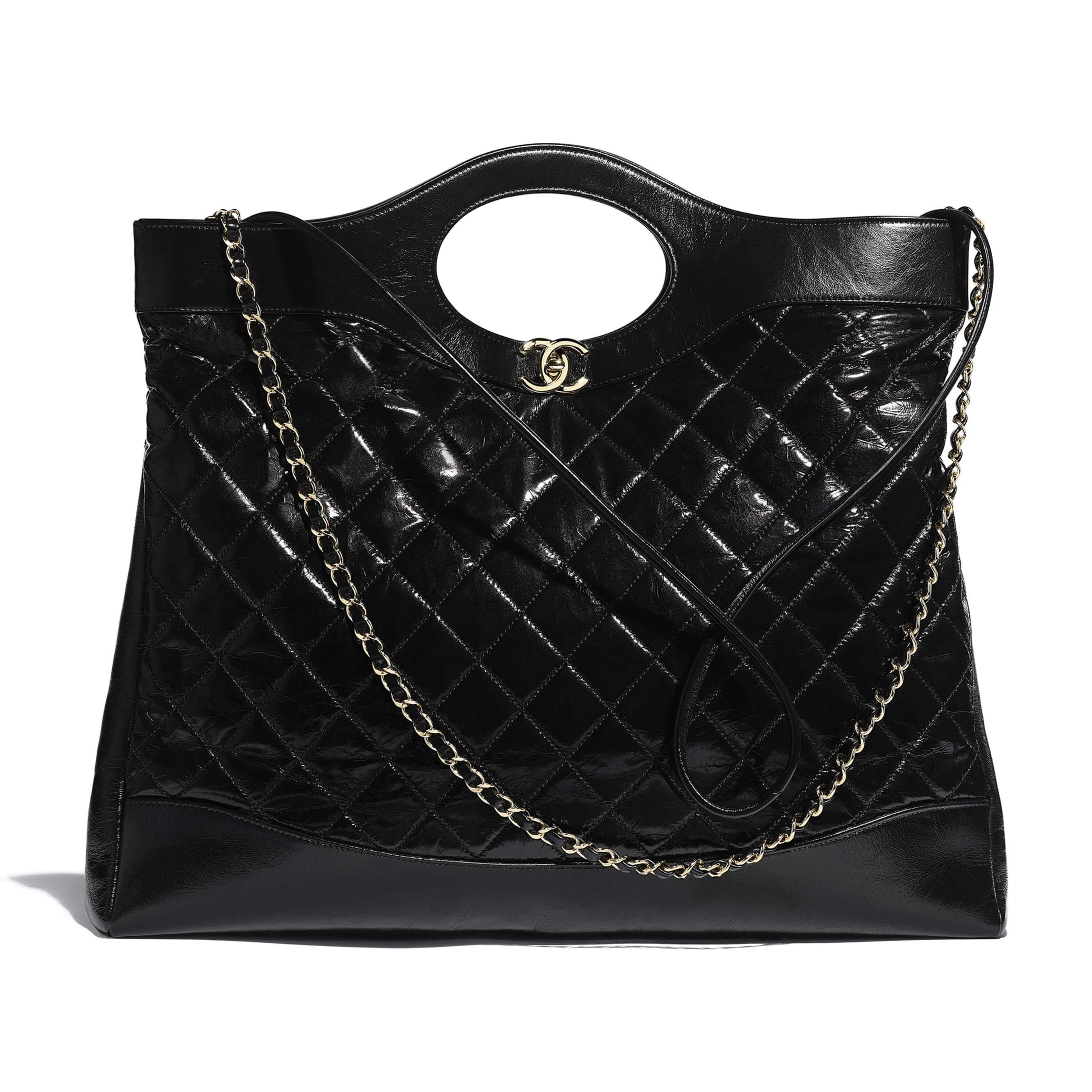 CHANEL 31 Large Shopping Bag - Black - Shiny Crumpled Calfskin & Gold-Tone Metal - Default view - see standard sized version