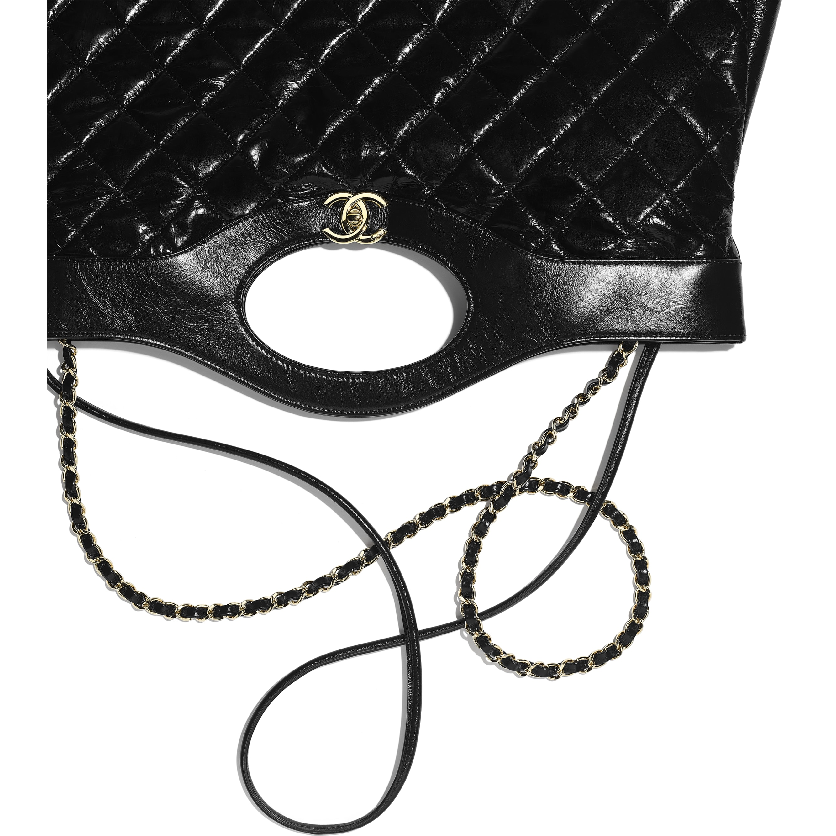 CHANEL 31 Large Shopping Bag - Black - Shiny Crumpled Calfskin & Gold-Tone Metal - Extra view - see standard sized version