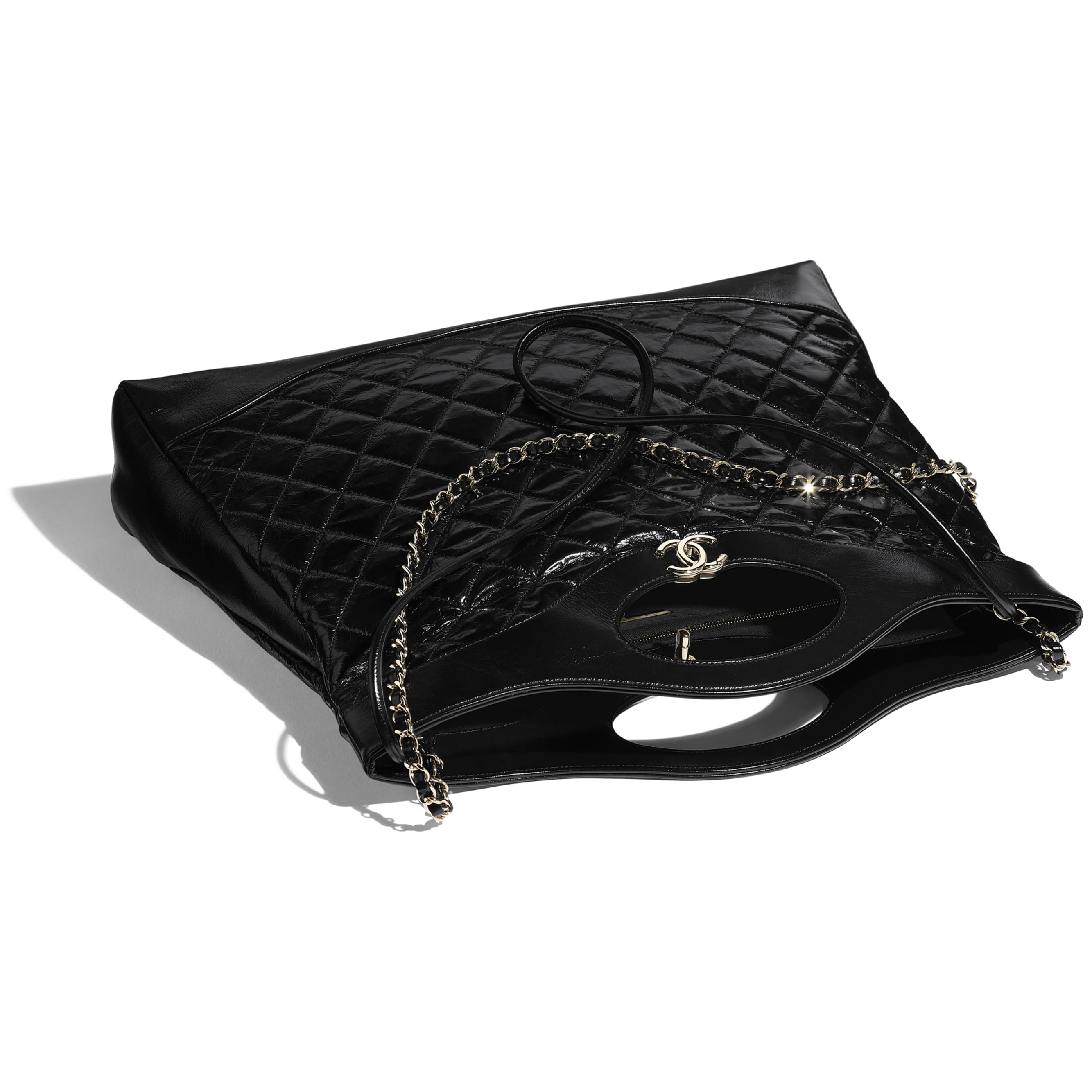 CHANEL 31 Large Shopping Bag - Black - Shiny Crumpled Calfskin & Gold-Tone Metal - Other view - see standard sized version