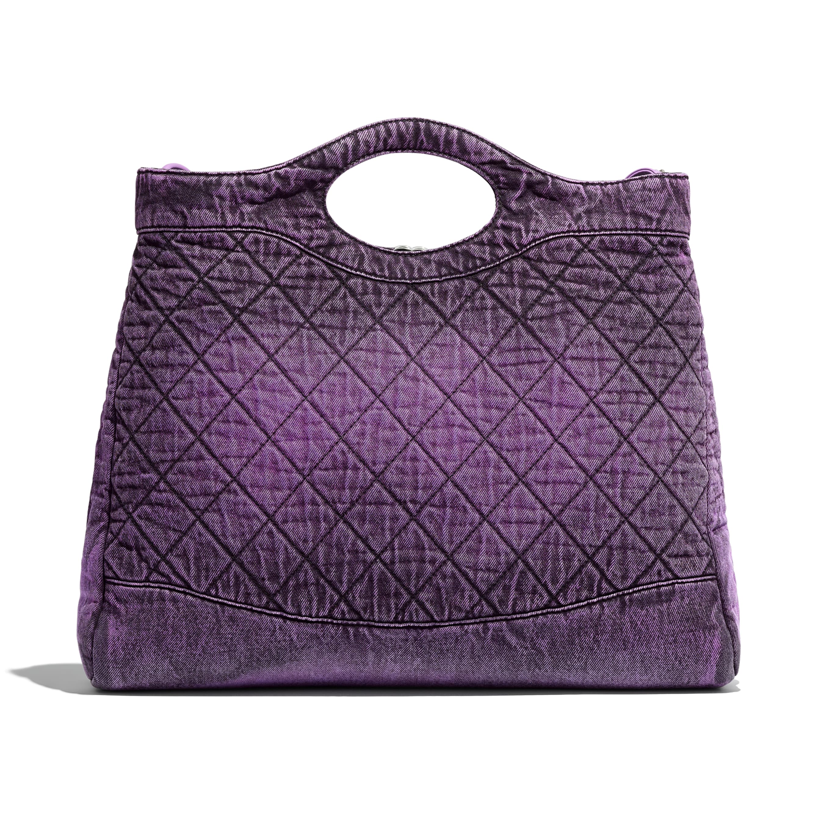 CHANEL 31 Large Shopping Bag - Purple & Black - Denim & Silver-Tone Metal - Alternative view - see standard sized version