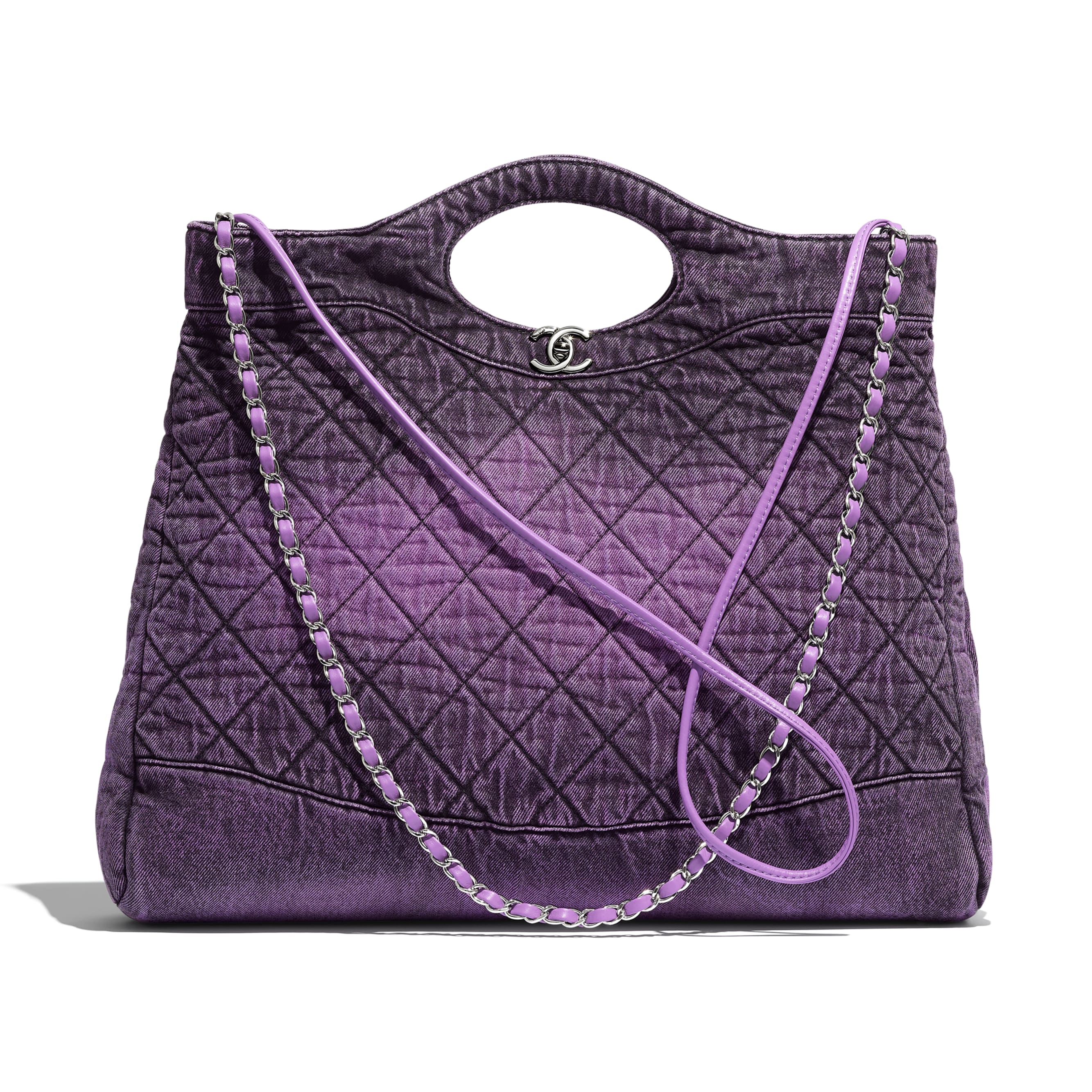 CHANEL 31 Large Shopping Bag - Purple & Black - Denim & Silver-Tone Metal - Default view - see standard sized version