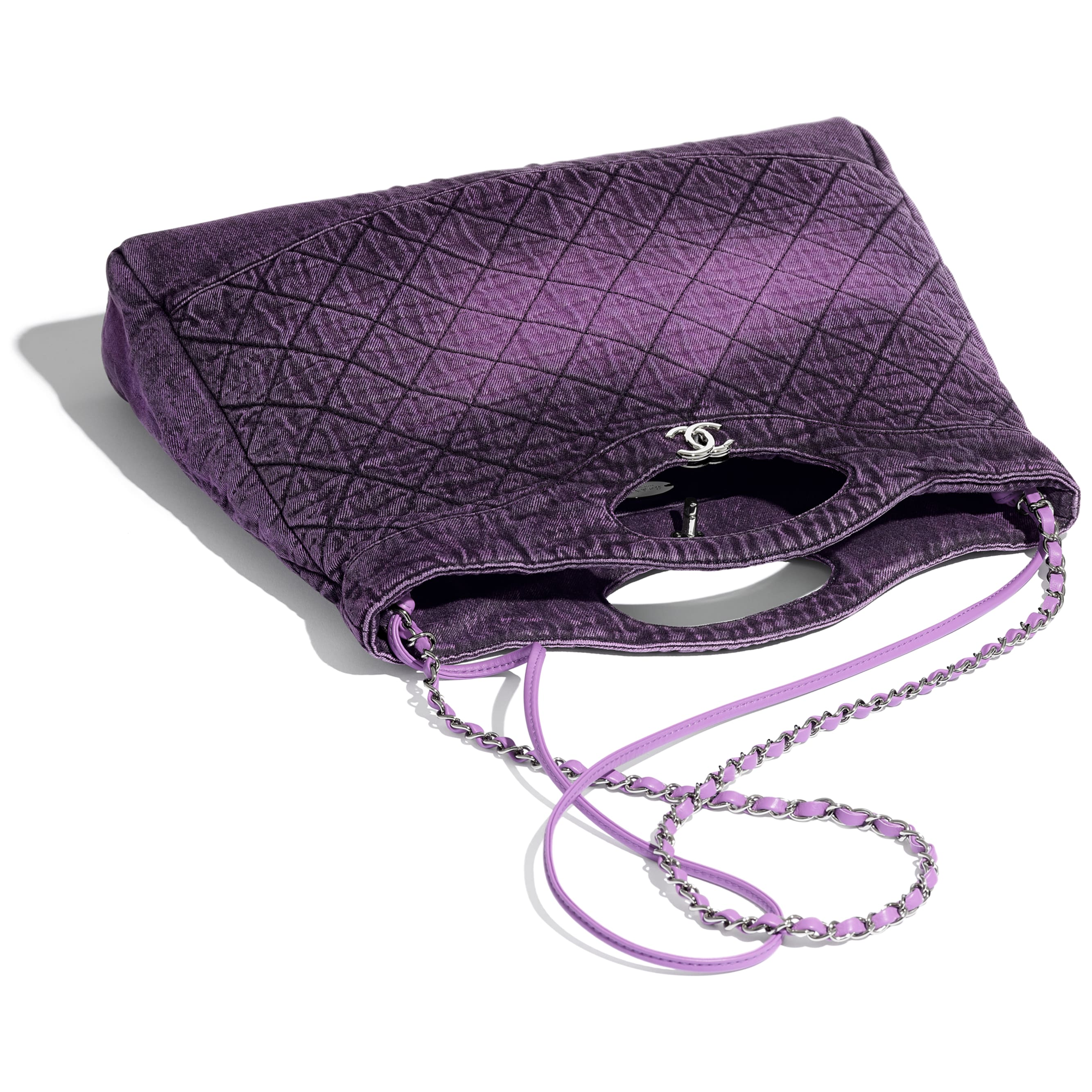CHANEL 31 Large Shopping Bag - Purple & Black - Denim & Silver-Tone Metal - Other view - see standard sized version