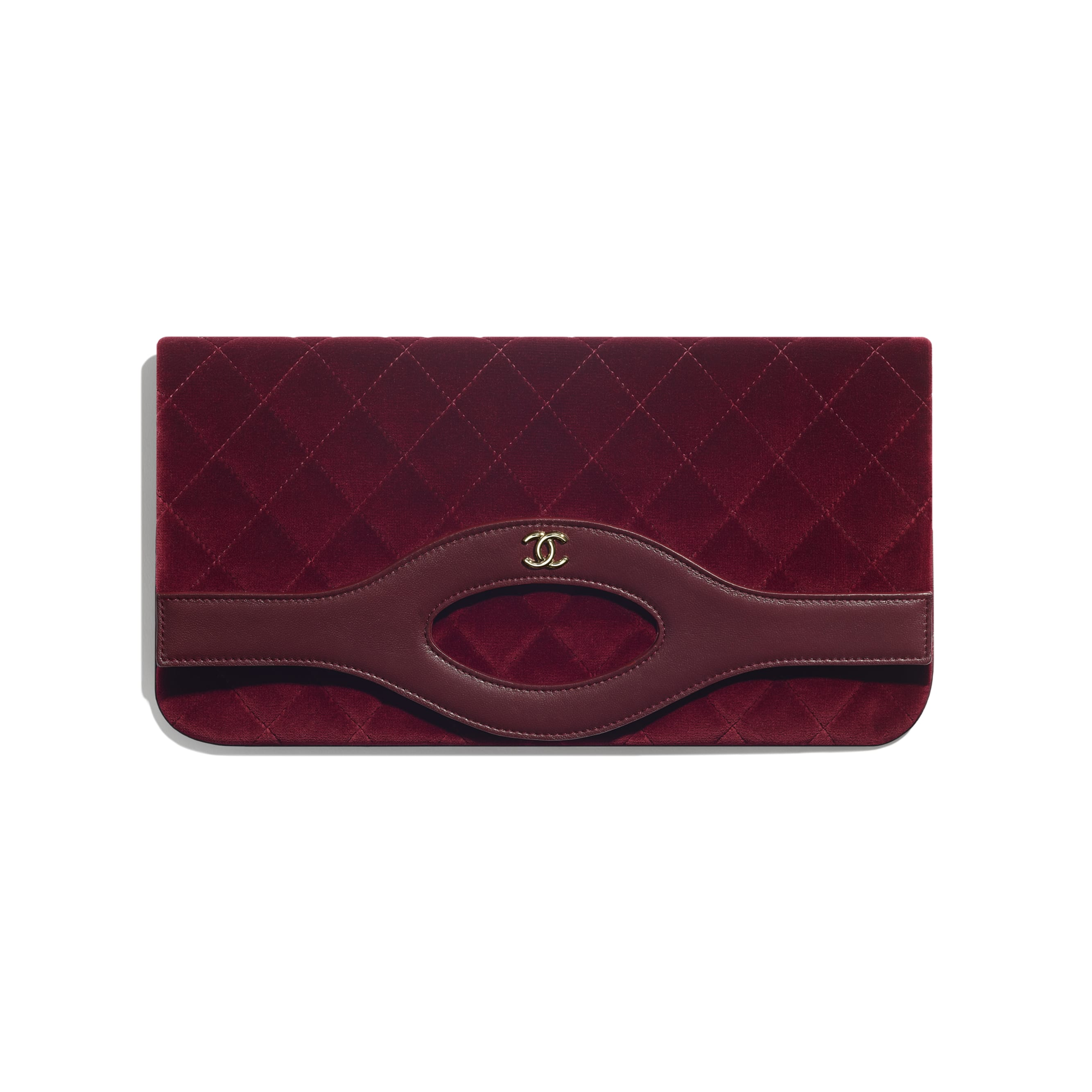 CHANEL 31 Pouch - Burgundy - Velvet, Lambskin & Gold Metal - Default view - see standard sized version