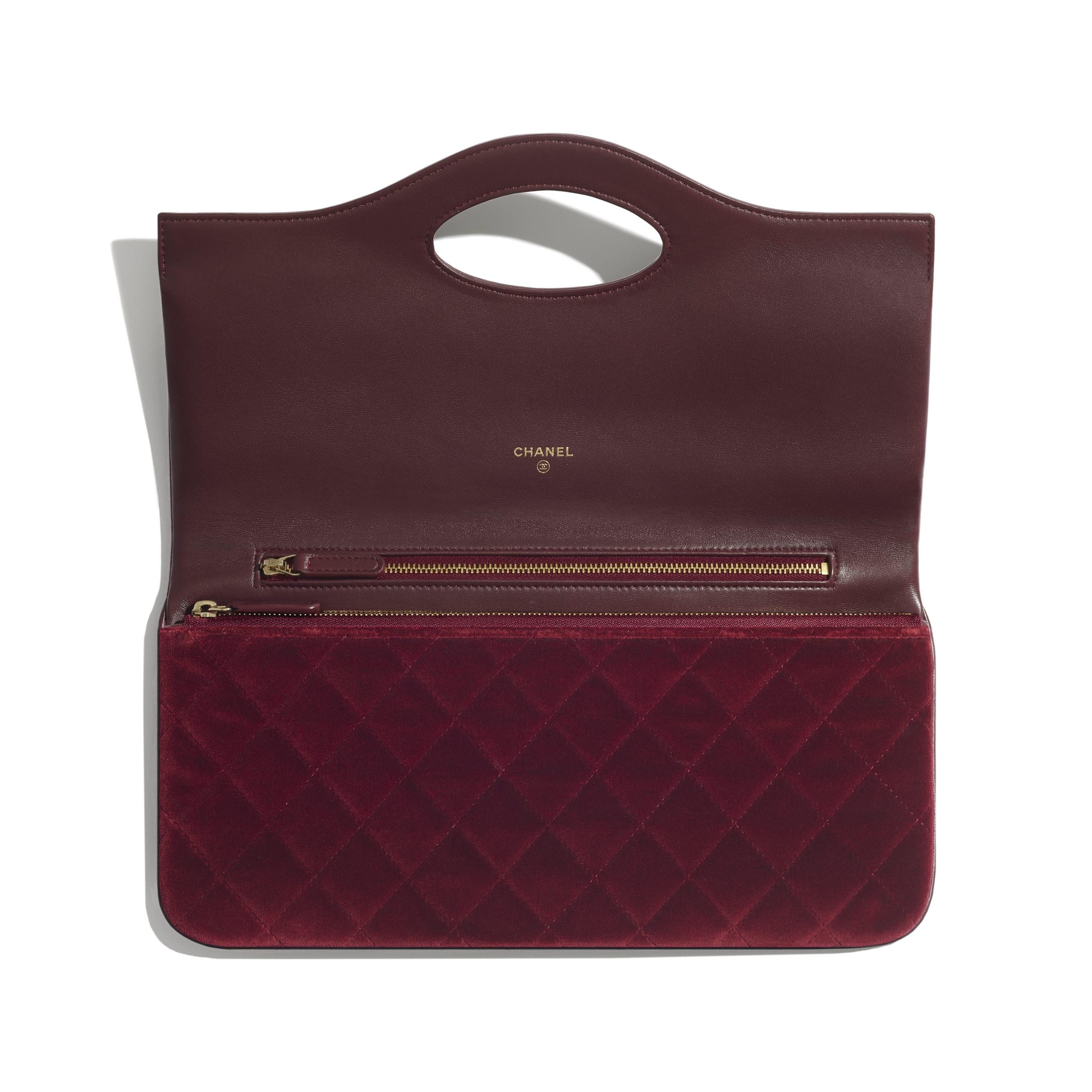CHANEL 31 Pouch - Burgundy - Velvet, Lambskin & Gold Metal - Other view - see standard sized version
