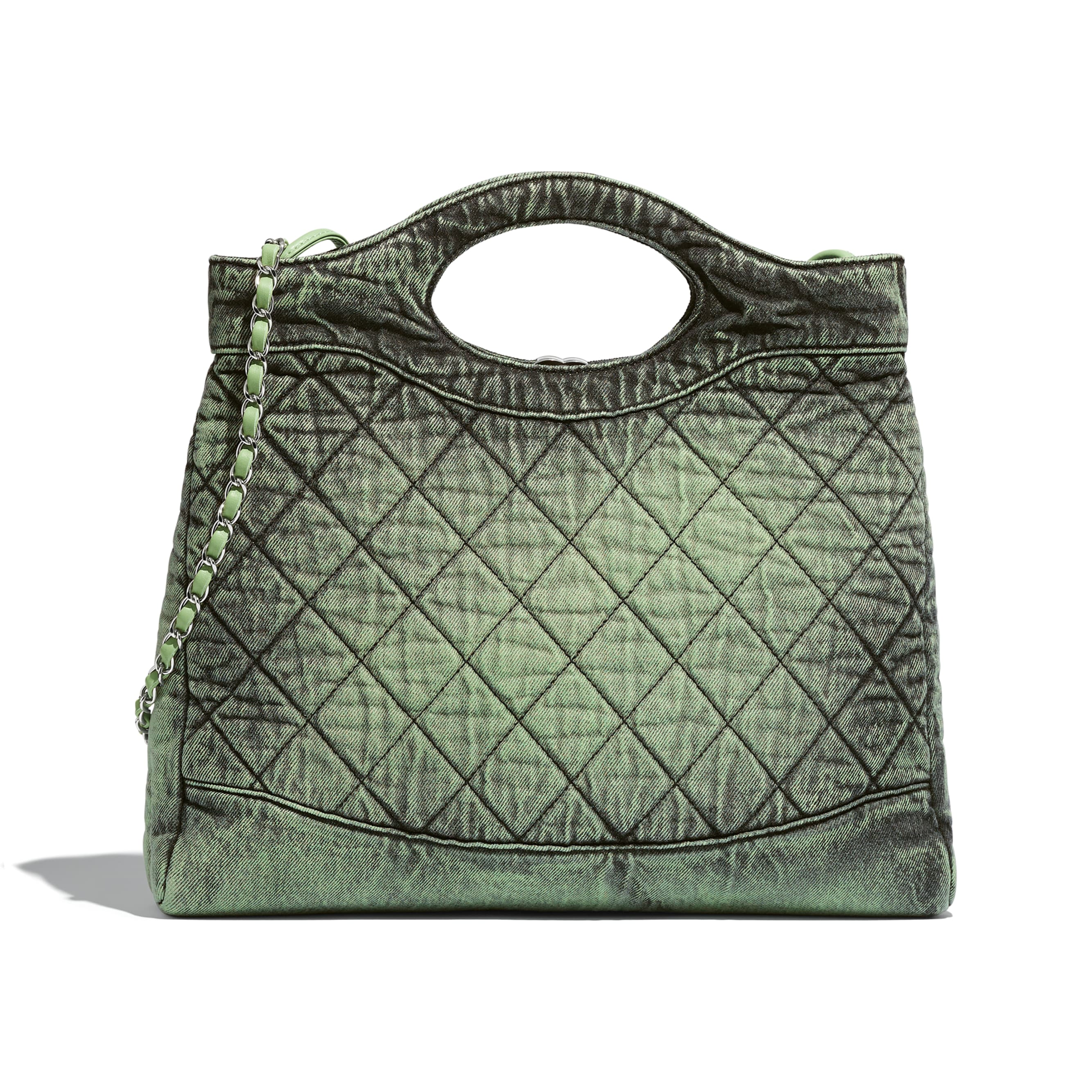 CHANEL 31 Shopping Bag - Green & Black - Denim & Silver-Tone Metal - Alternative view - see standard sized version