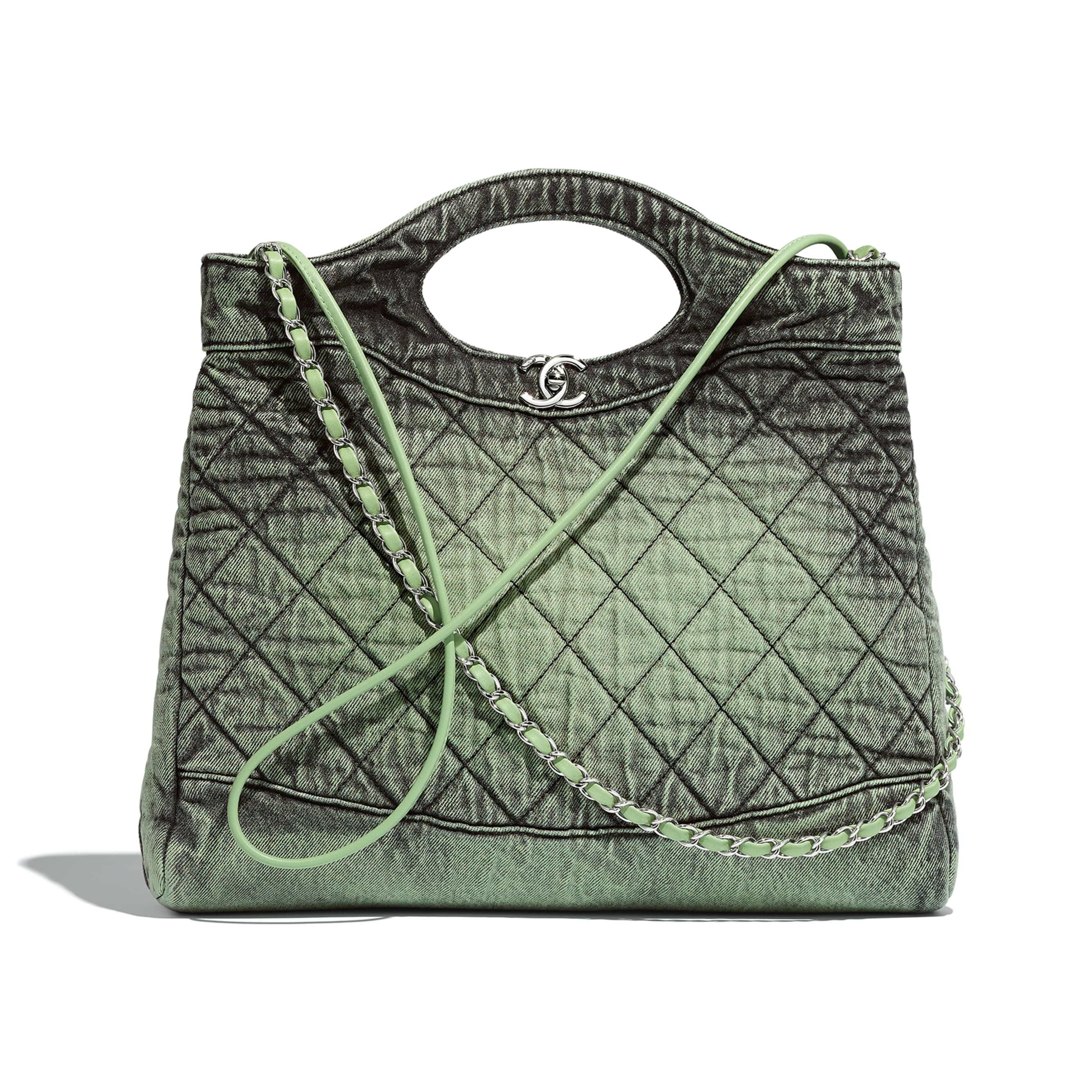 CHANEL 31 Shopping Bag - Green & Black - Denim & Silver-Tone Metal - CHANEL - Default view - see standard sized version