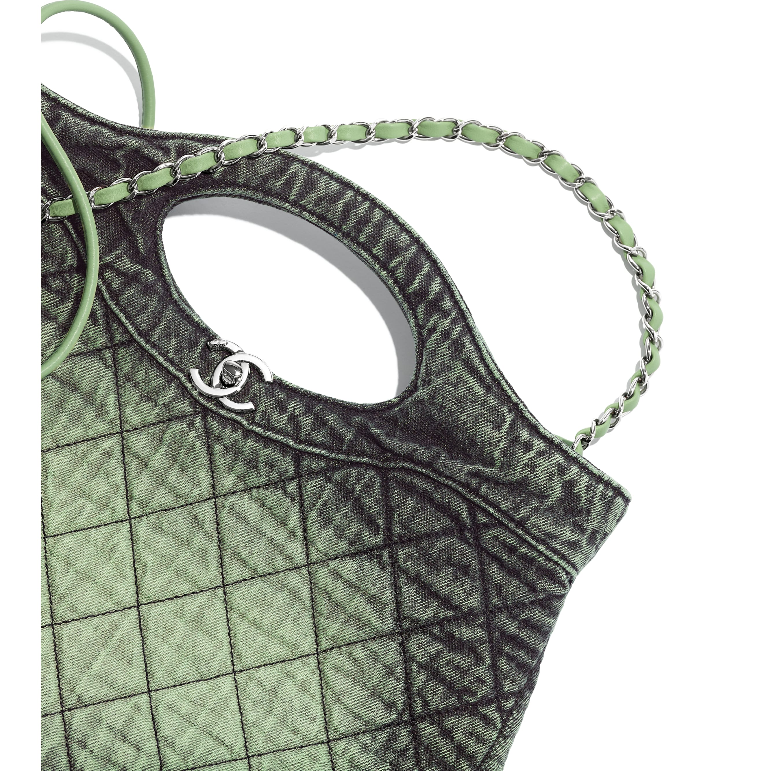 CHANEL 31 Shopping Bag - Green & Black - Denim & Silver-Tone Metal - Extra view - see standard sized version