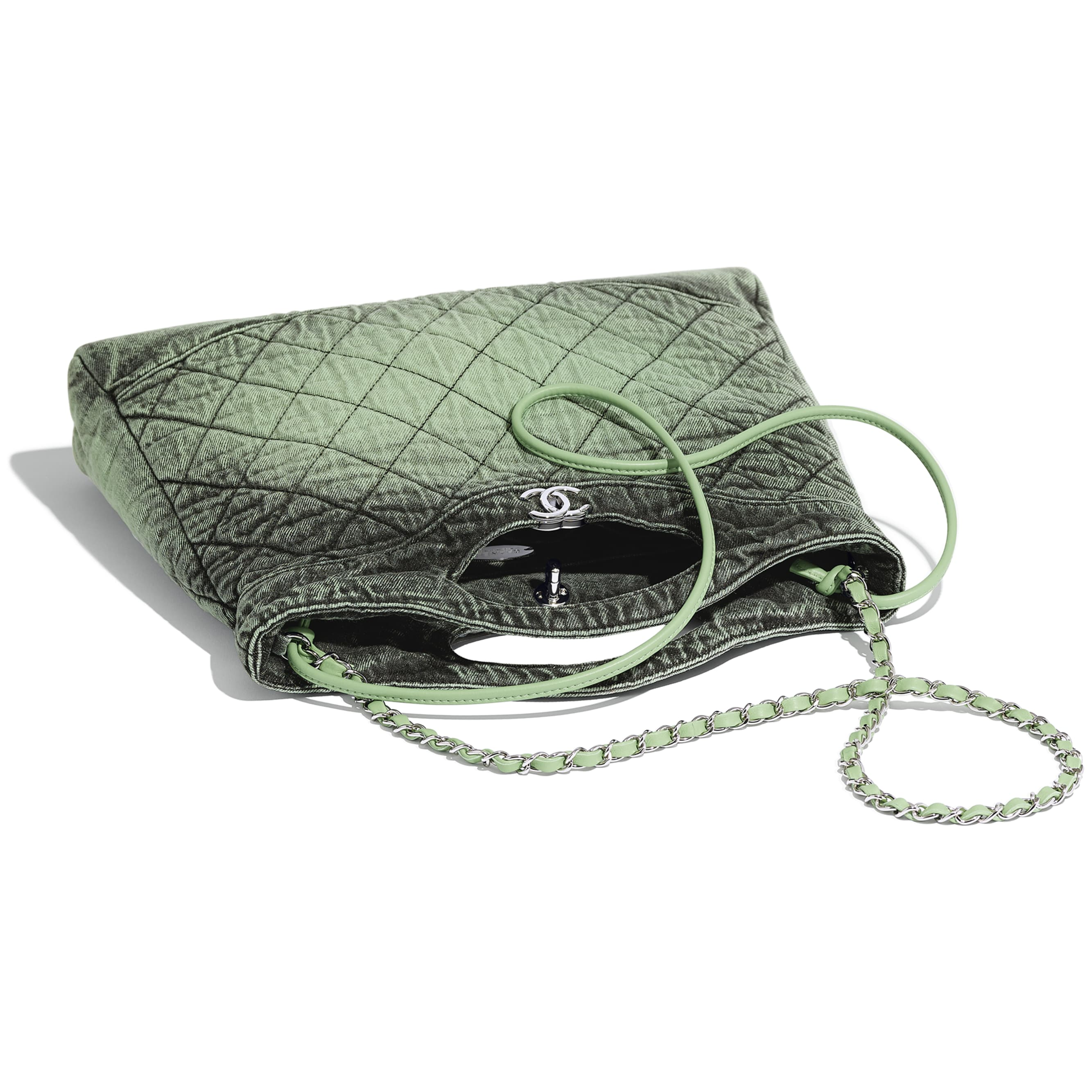 CHANEL 31 Shopping Bag - Green & Black - Denim & Silver-Tone Metal - CHANEL - Other view - see standard sized version