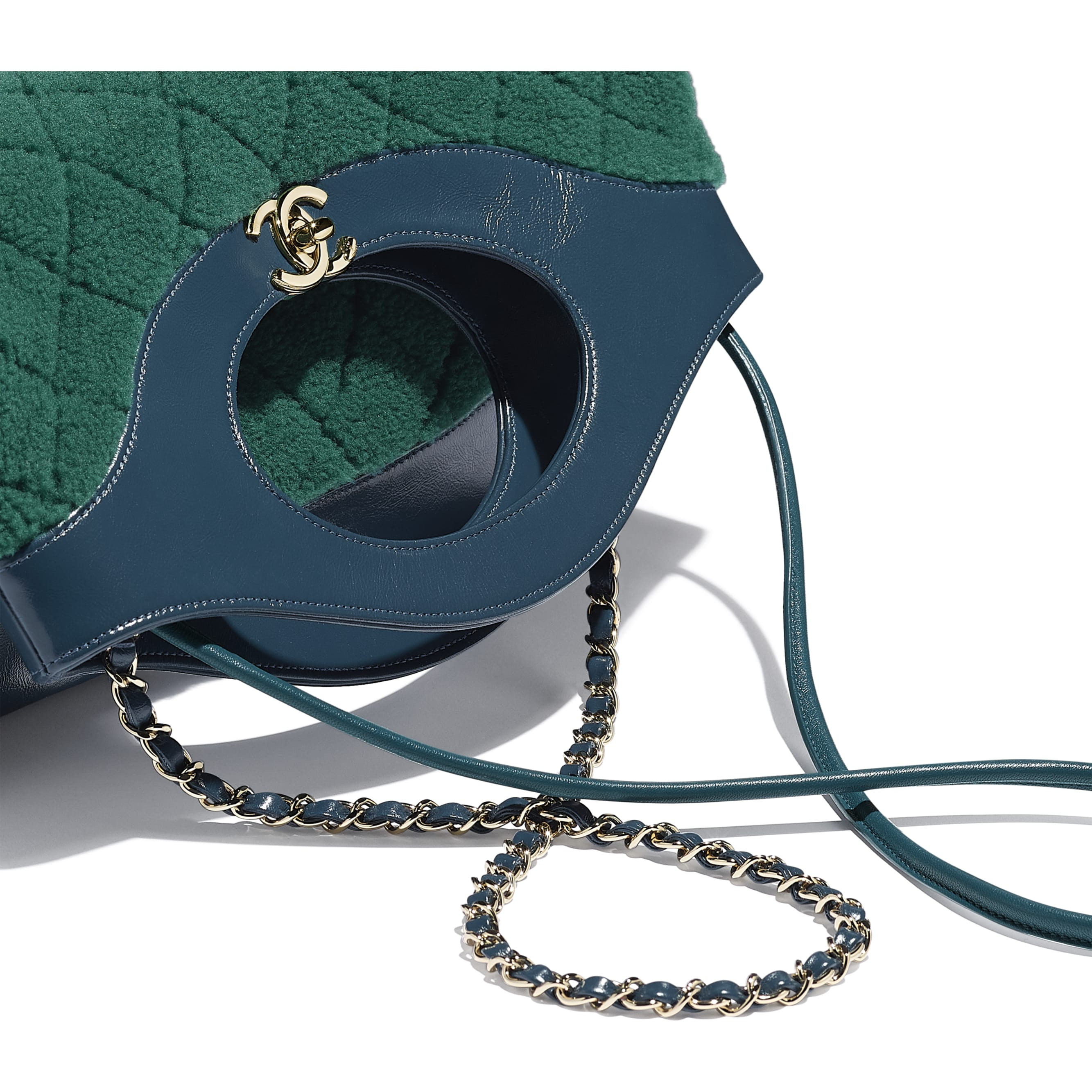 CHANEL 31 Shopping Bag - Green & Blue - Shearling Sheepskin, Calfskin & Gold-Tone Metal - Extra view - see standard sized version