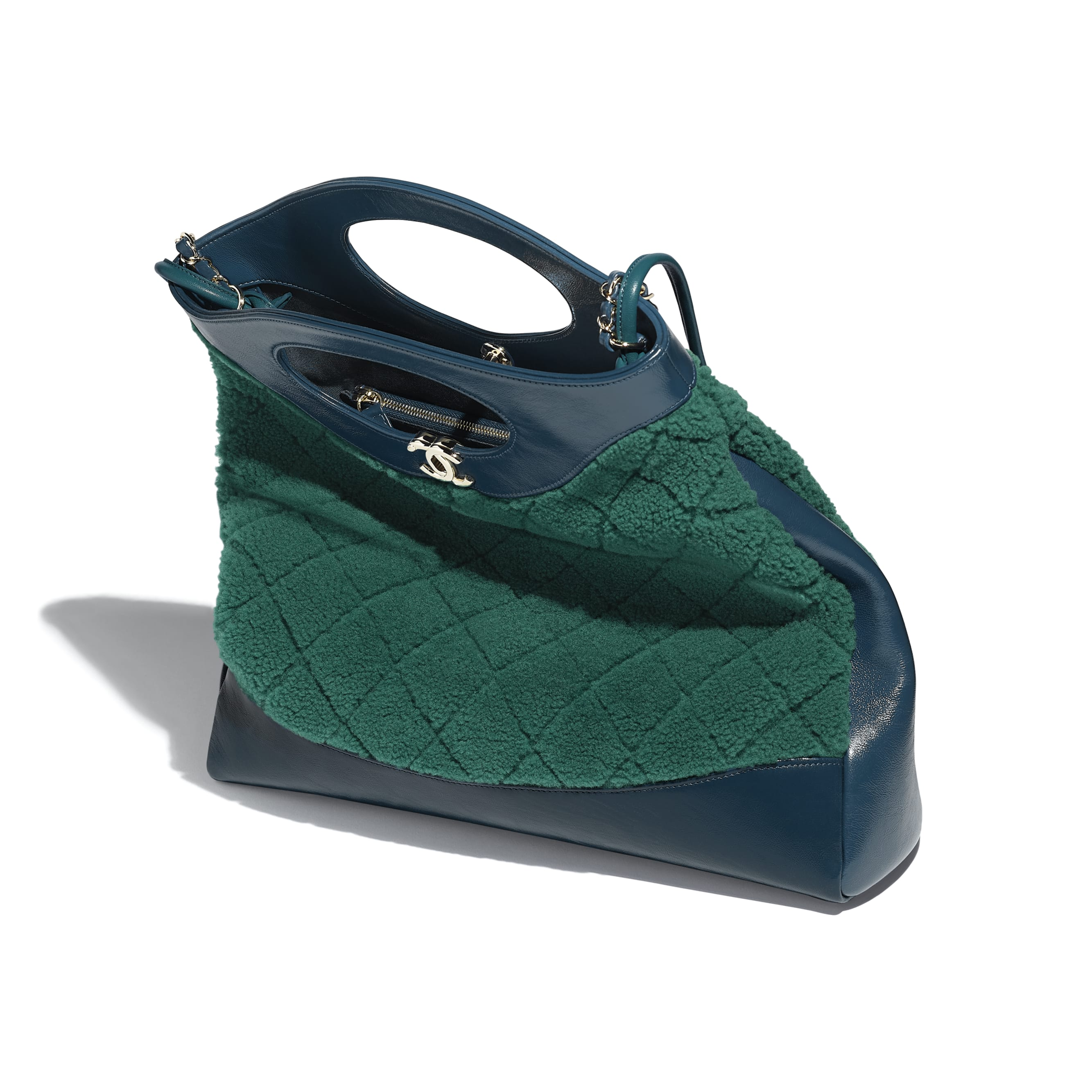 CHANEL 31 Shopping Bag - Green & Blue - Shearling Sheepskin, Calfskin & Gold-Tone Metal - Other view - see standard sized version