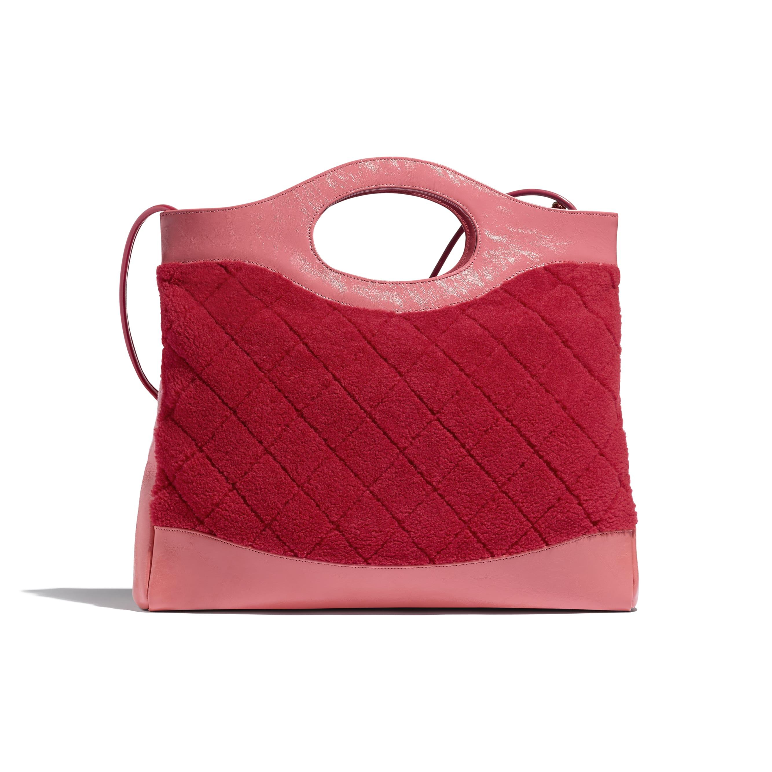 CHANEL 31 Shopping Bag - Red & Pink - Shearling Sheepskin, Calfskin & Gold-Tone Metal - Alternative view - see standard sized version