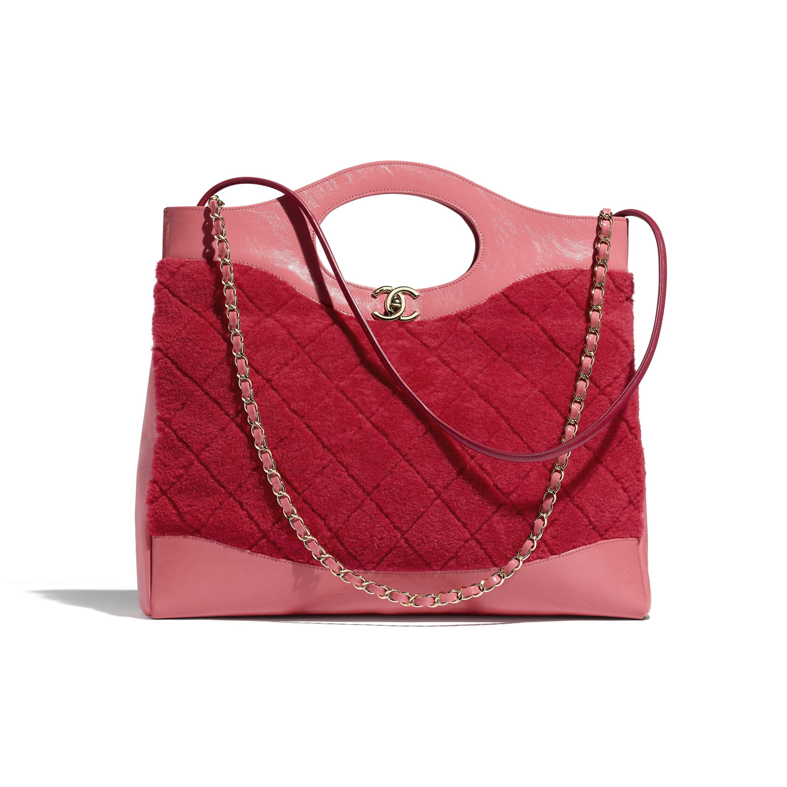 CHANEL 31 Shopping Bag - Red & Pink - Shearling Sheepskin, Calfskin & Gold-Tone Metal - Default view - see standard sized version