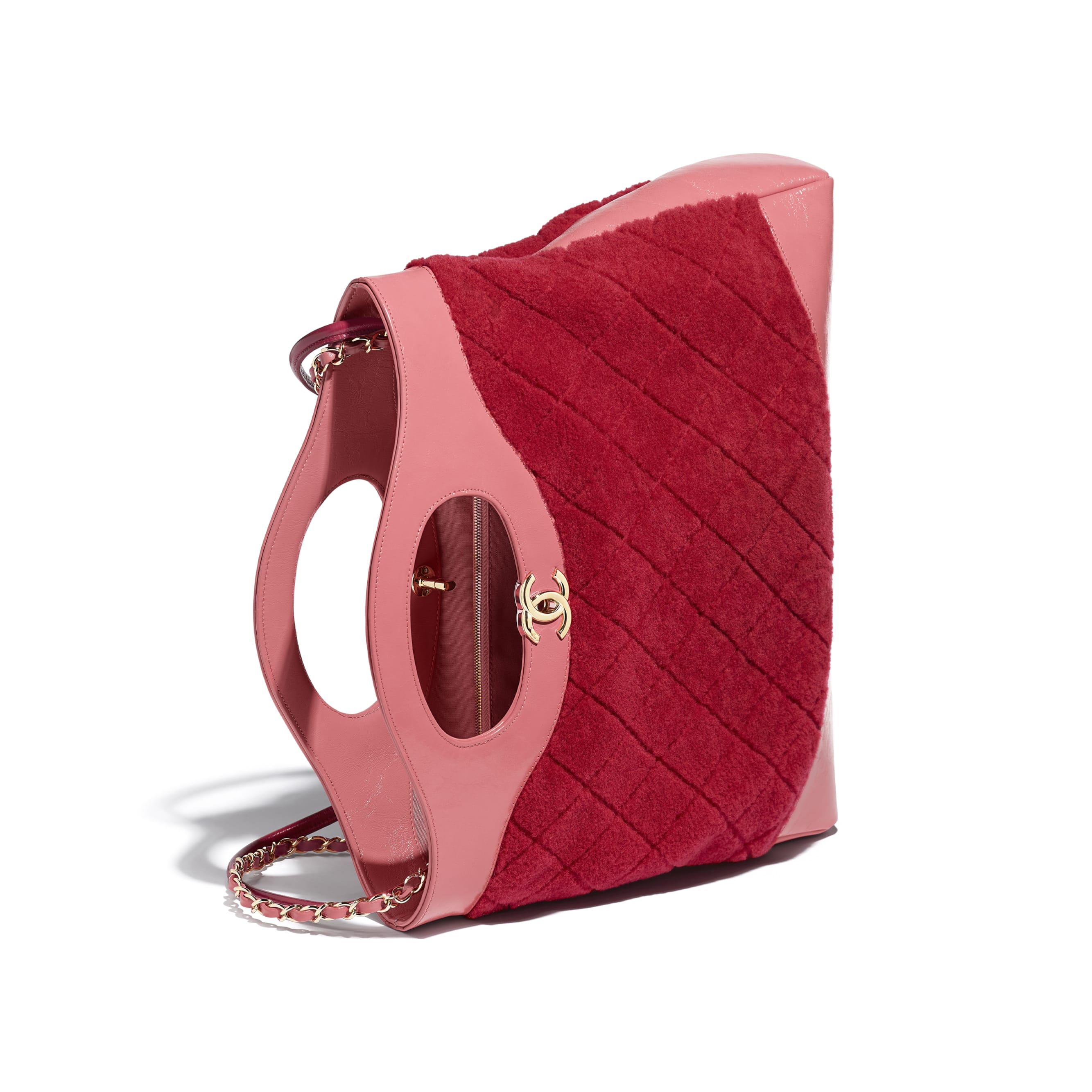 CHANEL 31 Shopping Bag - Red & Pink - Shearling Sheepskin, Calfskin & Gold-Tone Metal - Other view - see standard sized version