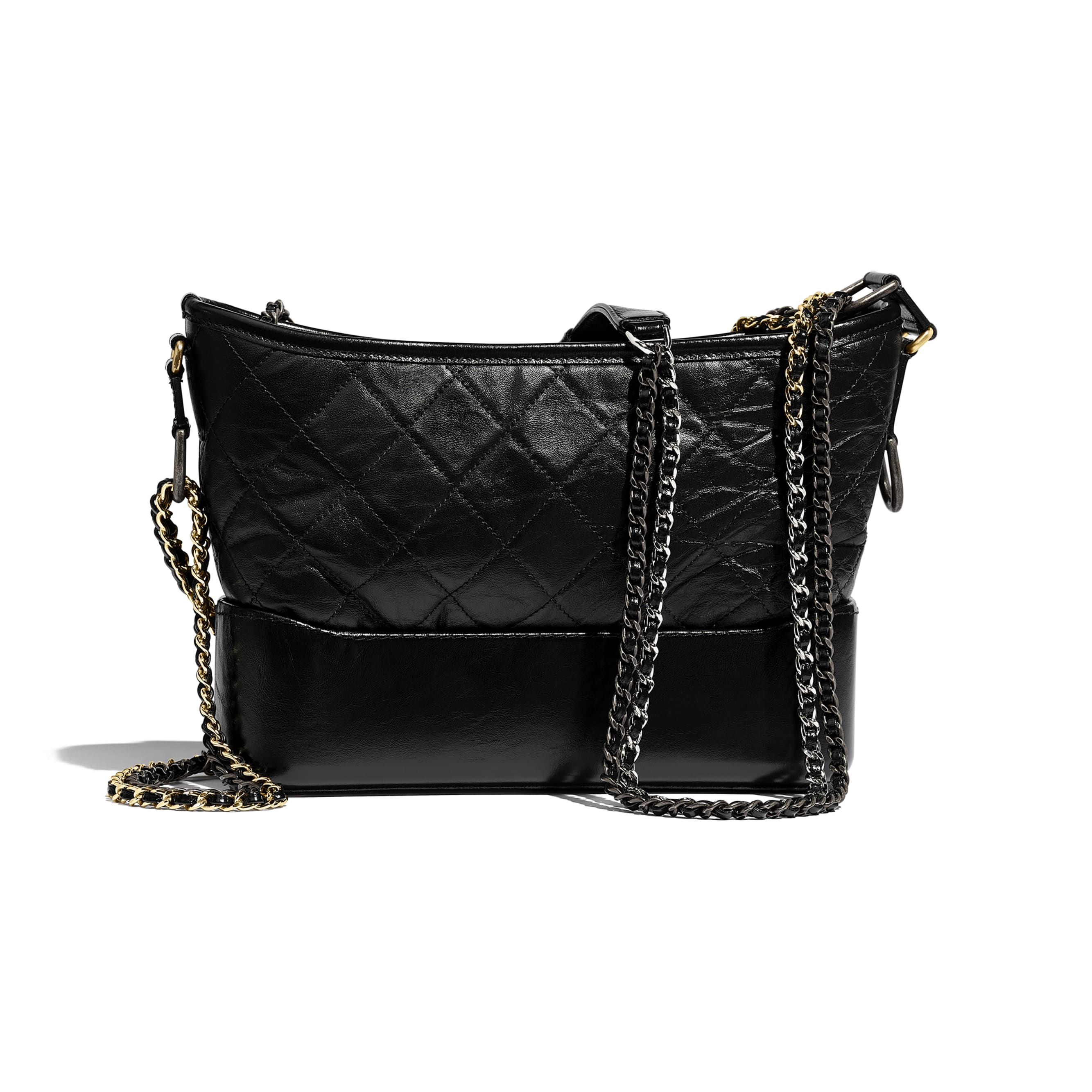 CHANEL'S GABRIELLE Hobo Handbag - Black - Aged Calfskin, Smooth Calfskin, Gold-Tone, Silver-Tone & Ruthenium-Finish Metal - CHANEL - Alternative view - see standard sized version
