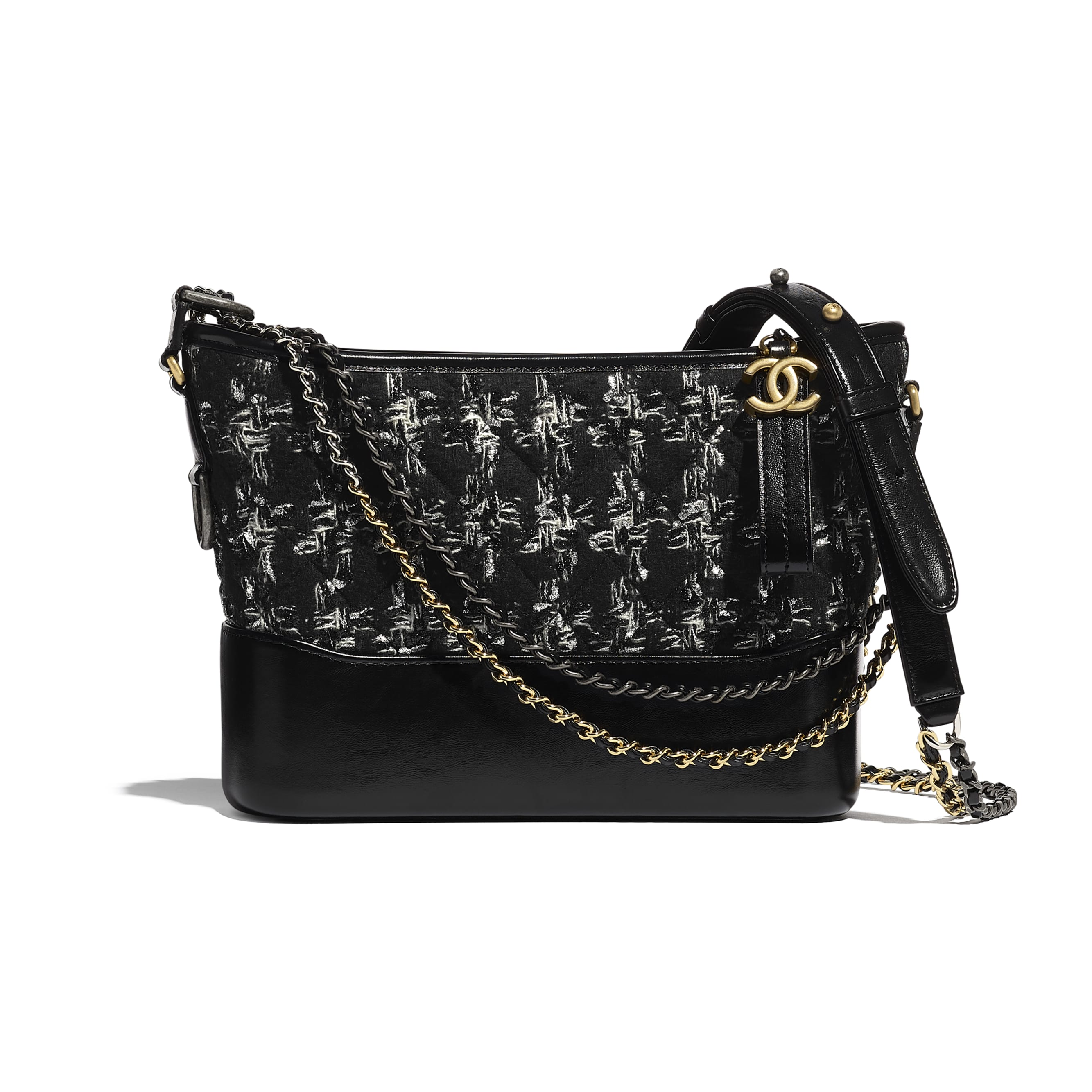 CHANEL'S GABRIELLE Hobo Handbag - Black, silver & ecru - Tweed, Calfskin, Gold-Tone, Silver-Tone & Ruthenium-Finish Metal - CHANEL - Default view - see standard sized version