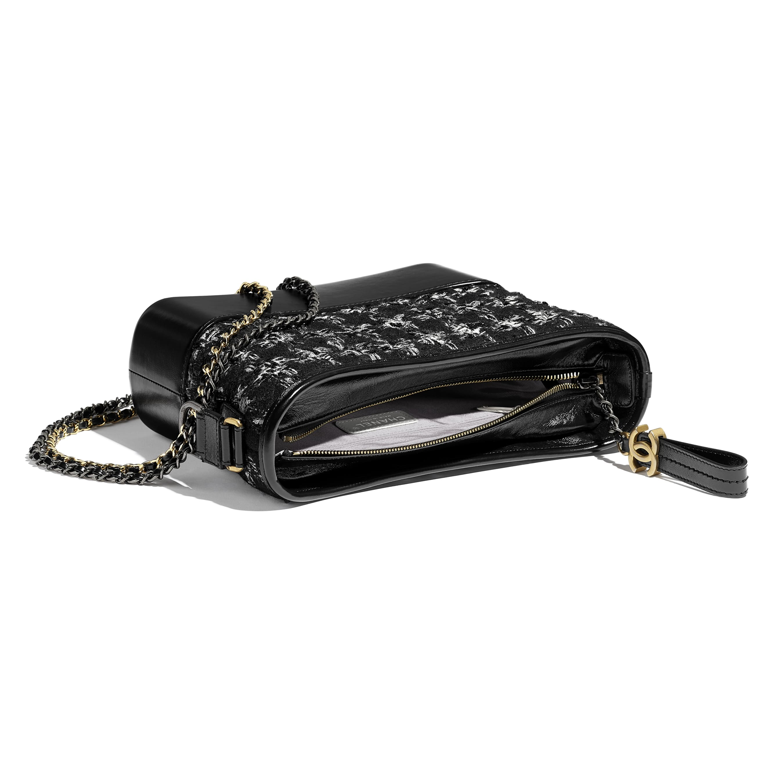 CHANEL'S GABRIELLE Hobo Handbag - Black, silver & ecru - Tweed, Calfskin, Gold-Tone, Silver-Tone & Ruthenium-Finish Metal - CHANEL - Other view - see standard sized version