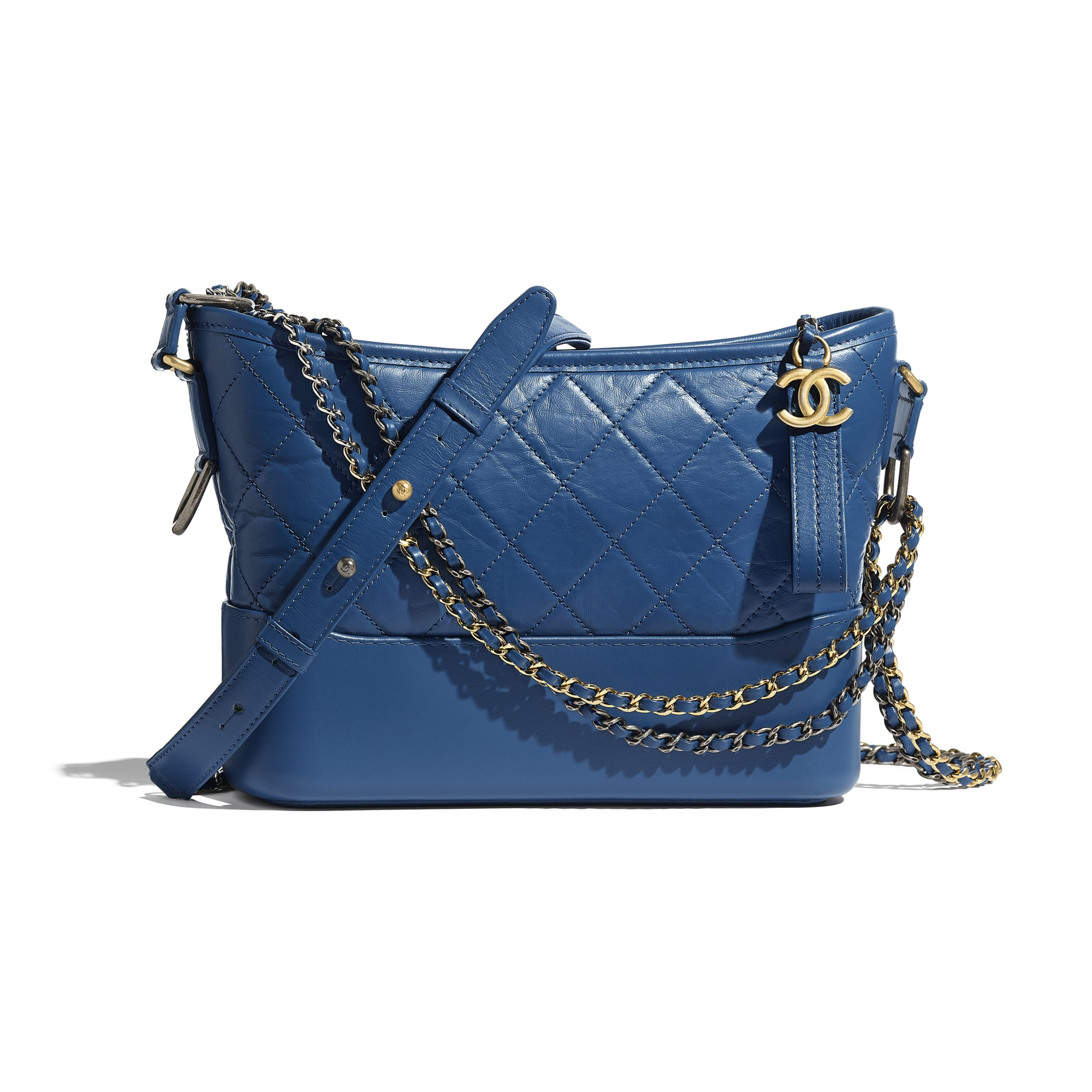 CHANEL'S GABRIELLE Hobo Handbag - Dark Blue - Aged Calfskin, Smooth Calfskin, Gold-Tone, Silver-Tone & Ruthenium-Finish Metal - CHANEL - Default view - see standard sized version