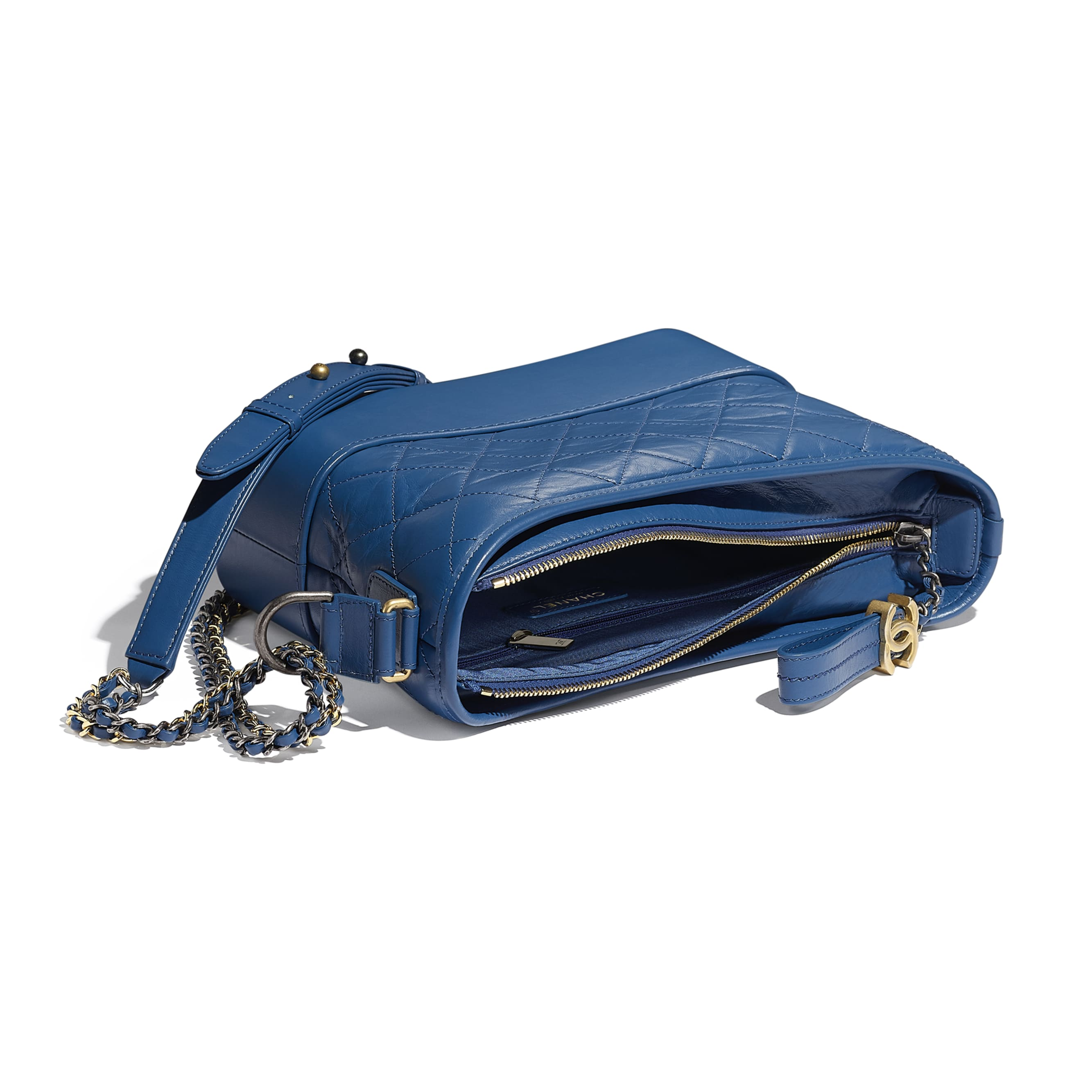 CHANEL'S GABRIELLE Hobo Handbag - Dark Blue - Aged Calfskin, Smooth Calfskin, Gold-Tone, Silver-Tone & Ruthenium-Finish Metal - CHANEL - Other view - see standard sized version