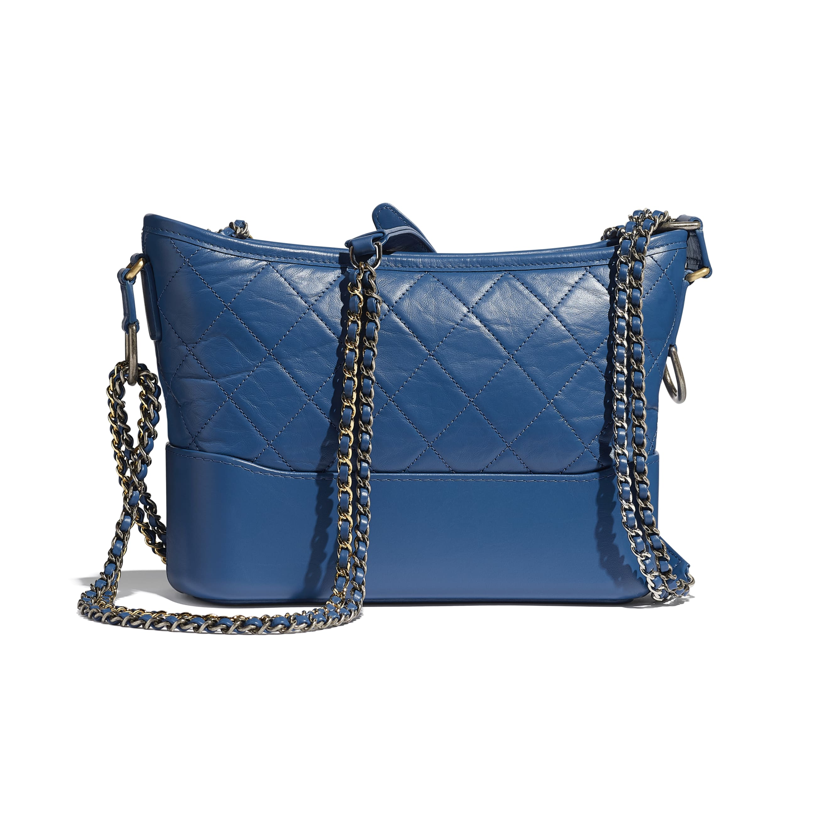 CHANEL'S GABRIELLE Hobo Handbag - Dark Blue - Aged Calfskin, Smooth Calfskin, Silver-Tone & Gold-Tone Metal - Alternative view - see standard sized version