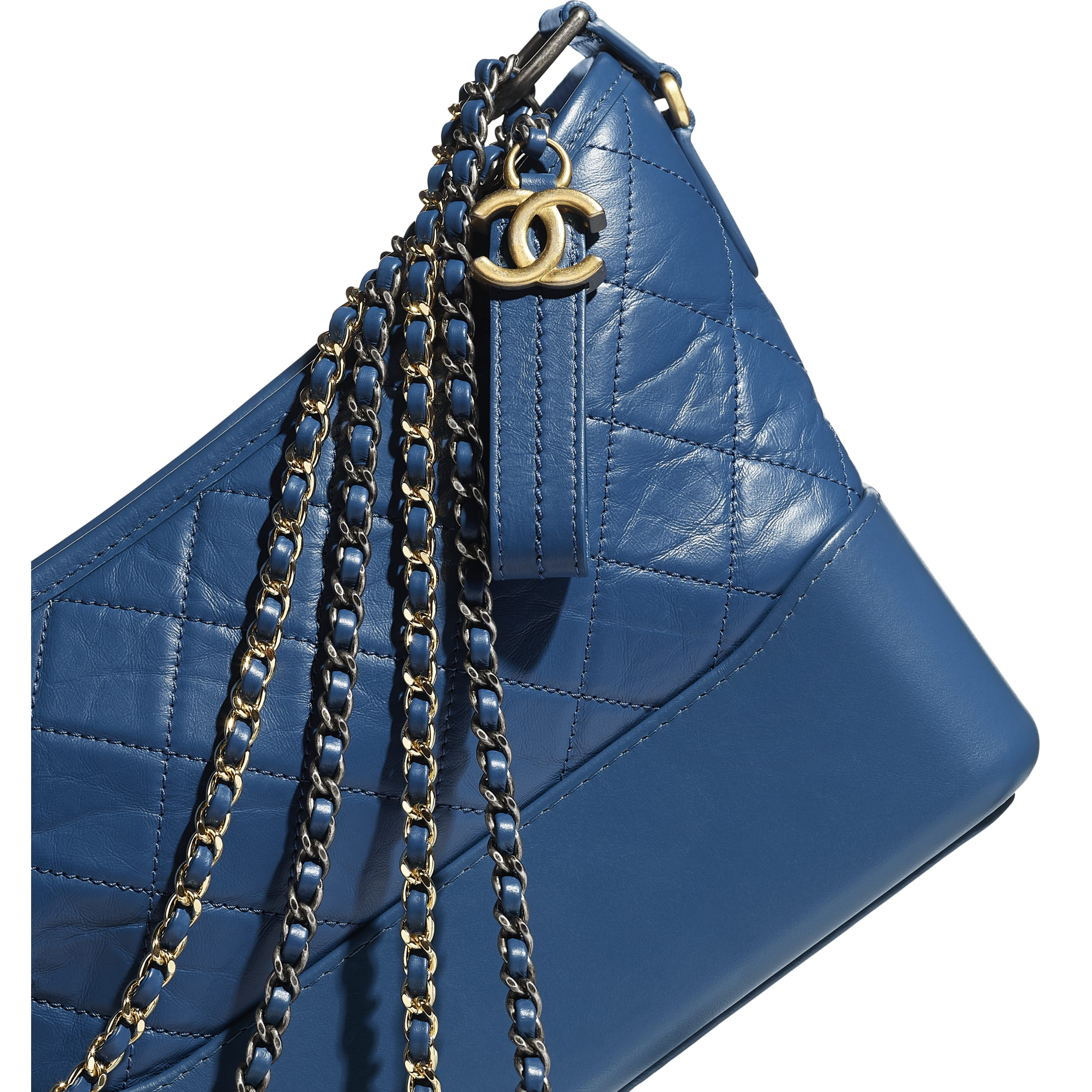CHANEL'S GABRIELLE Hobo Handbag - Dark Blue - Aged Calfskin, Smooth Calfskin, Silver-Tone & Gold-Tone Metal - Extra view - see standard sized version