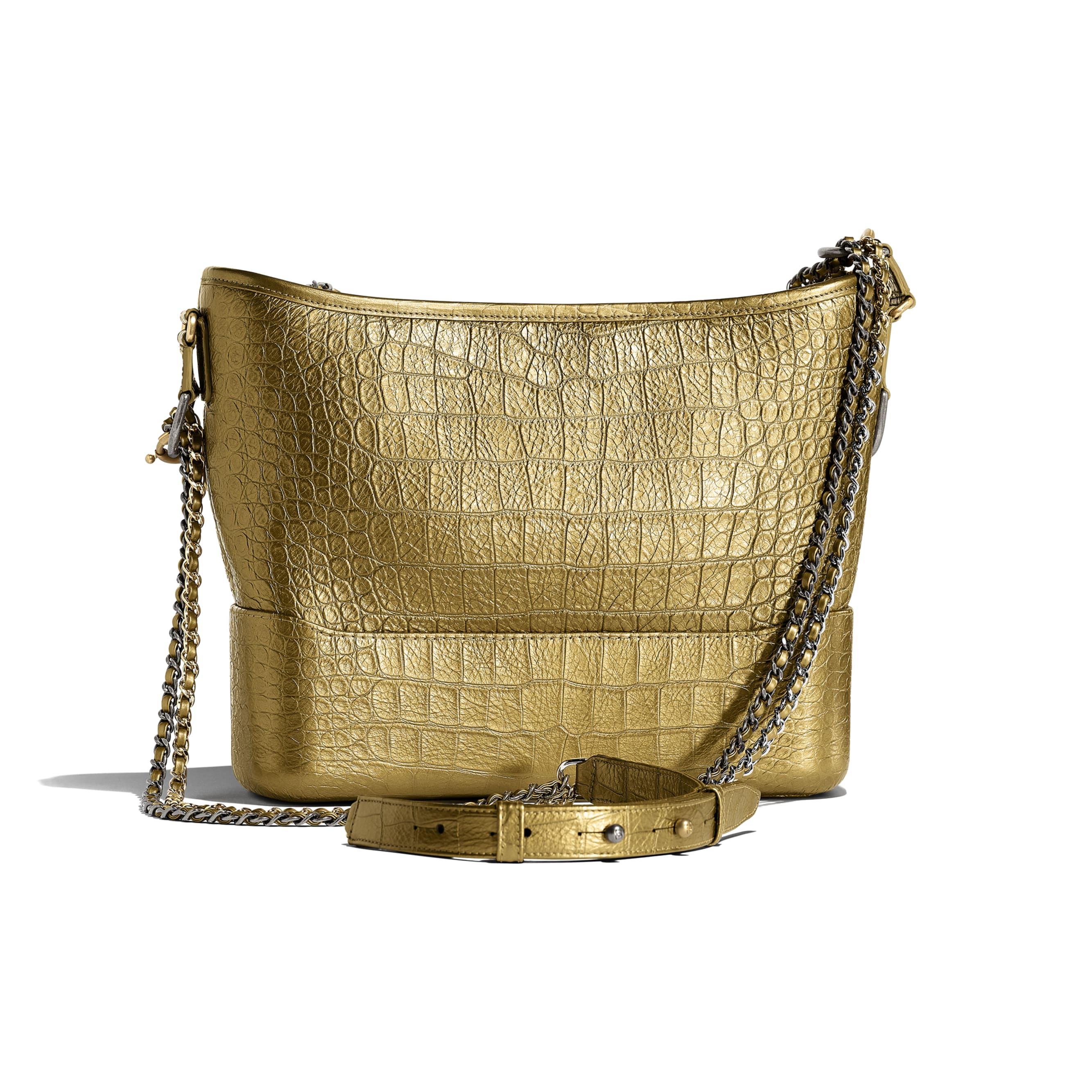 CHANEL'S GABRIELLE Hobo Bag - Gold - Metallic Crocodile Embossed Calfskin, Gold-Tone & Silver-Tone Metal - Alternative view - see standard sized version