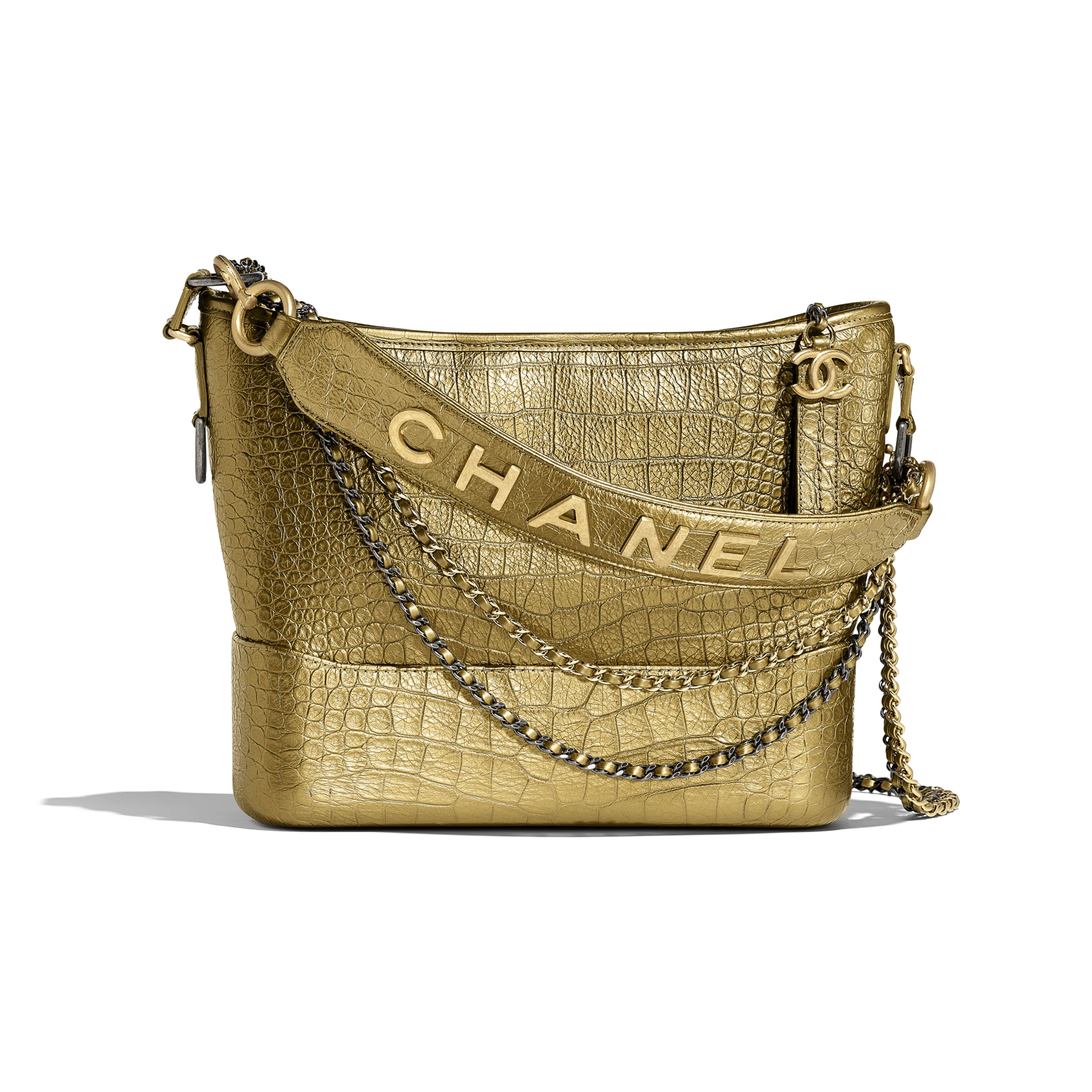 CHANEL'S GABRIELLE Hobo Bag - Gold - Metallic Crocodile Embossed Calfskin, Gold-Tone & Silver-Tone Metal - Default view - see standard sized version