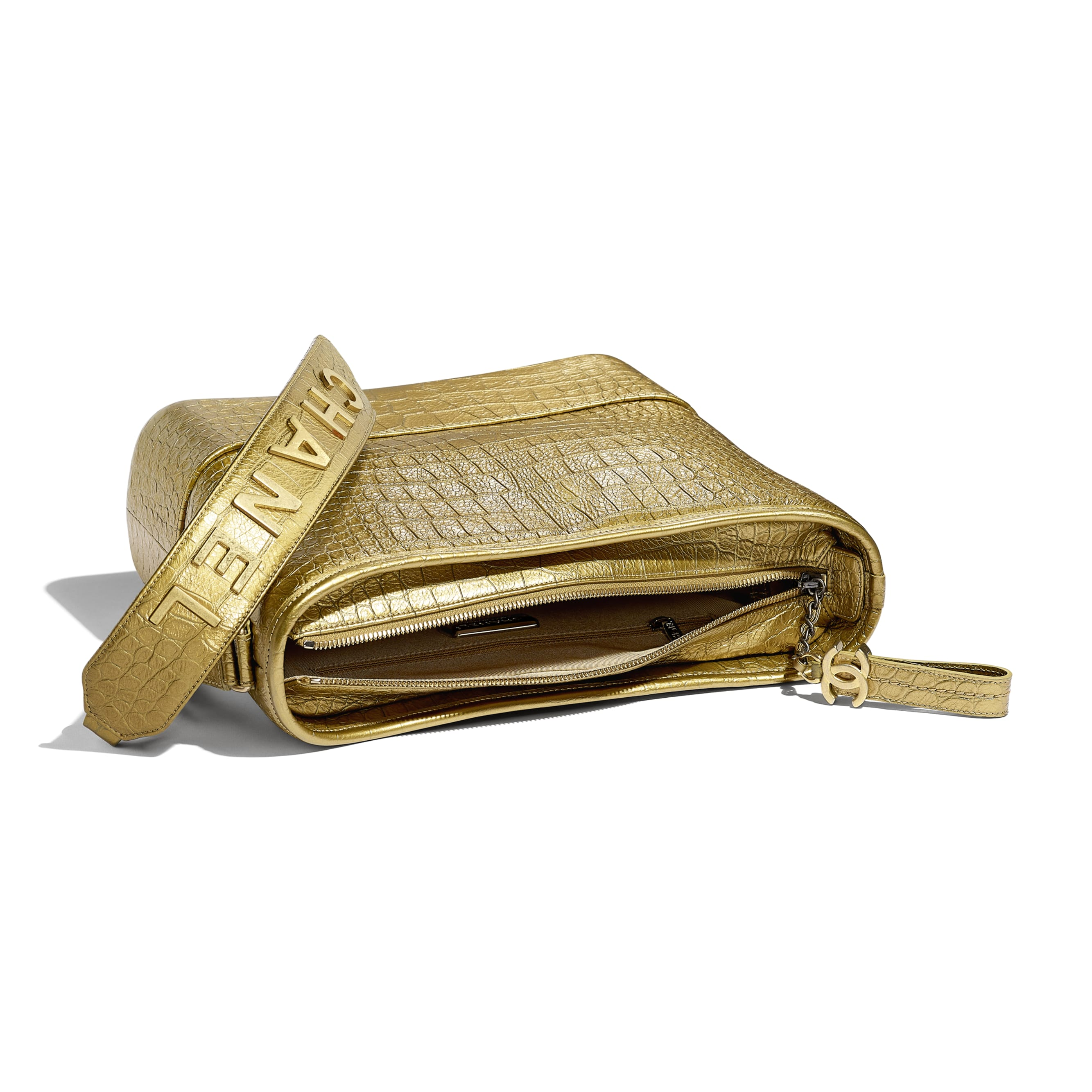 CHANEL'S GABRIELLE Hobo Bag - Gold - Metallic Crocodile Embossed Calfskin, Gold-Tone & Silver-Tone Metal - Other view - see standard sized version
