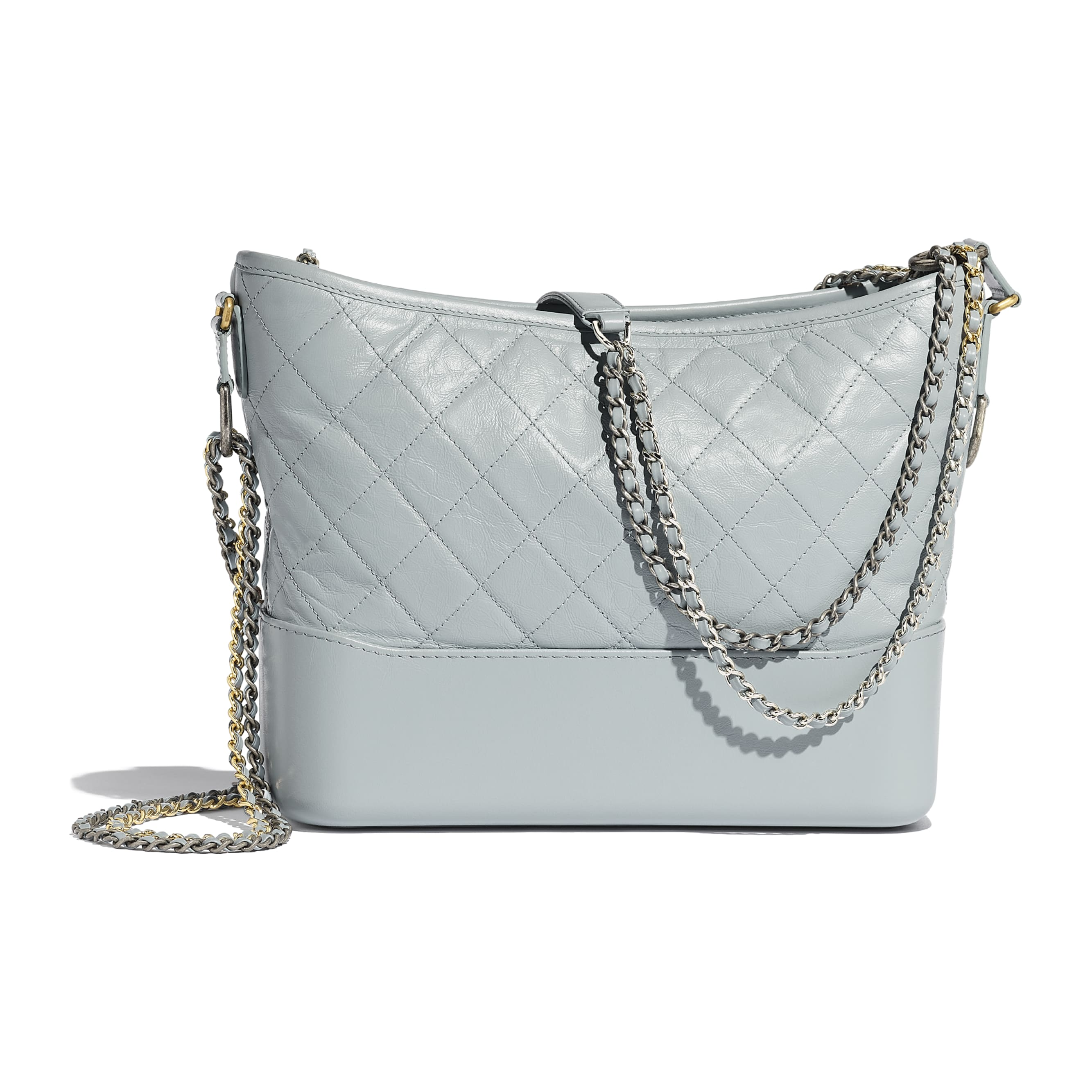 CHANEL'S GABRIELLE Hobo Bag - Light Blue - Aged Calfskin, Smooth Calfskin, Silver-Tone & Gold-Tone Metal - Alternative view - see standard sized version