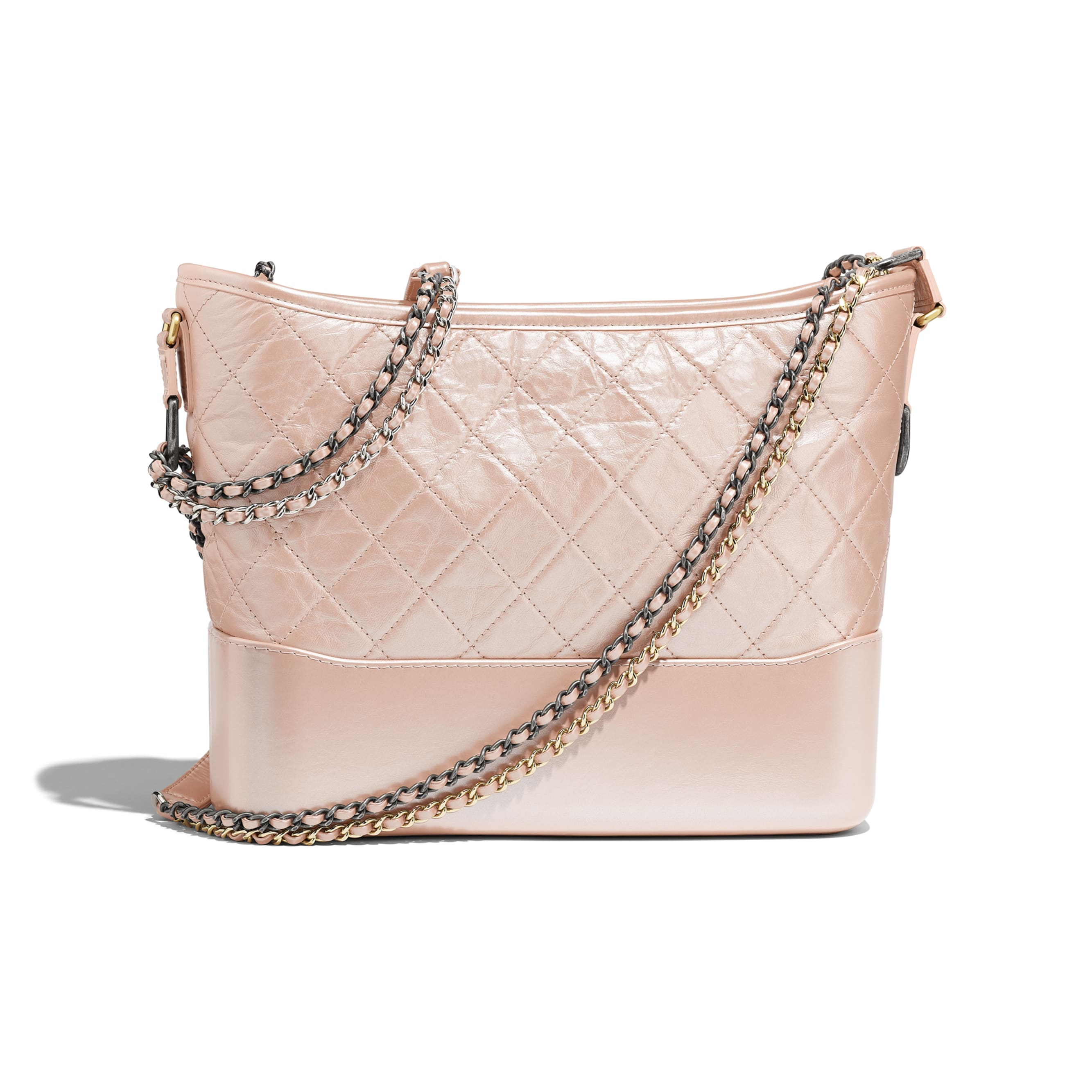 CHANEL'S GABRIELLE Hobo Bag - Light Pink - Iridescent Aged Calfskin, Gold-Tone & Silver-Tone Metal - Alternative view - see standard sized version