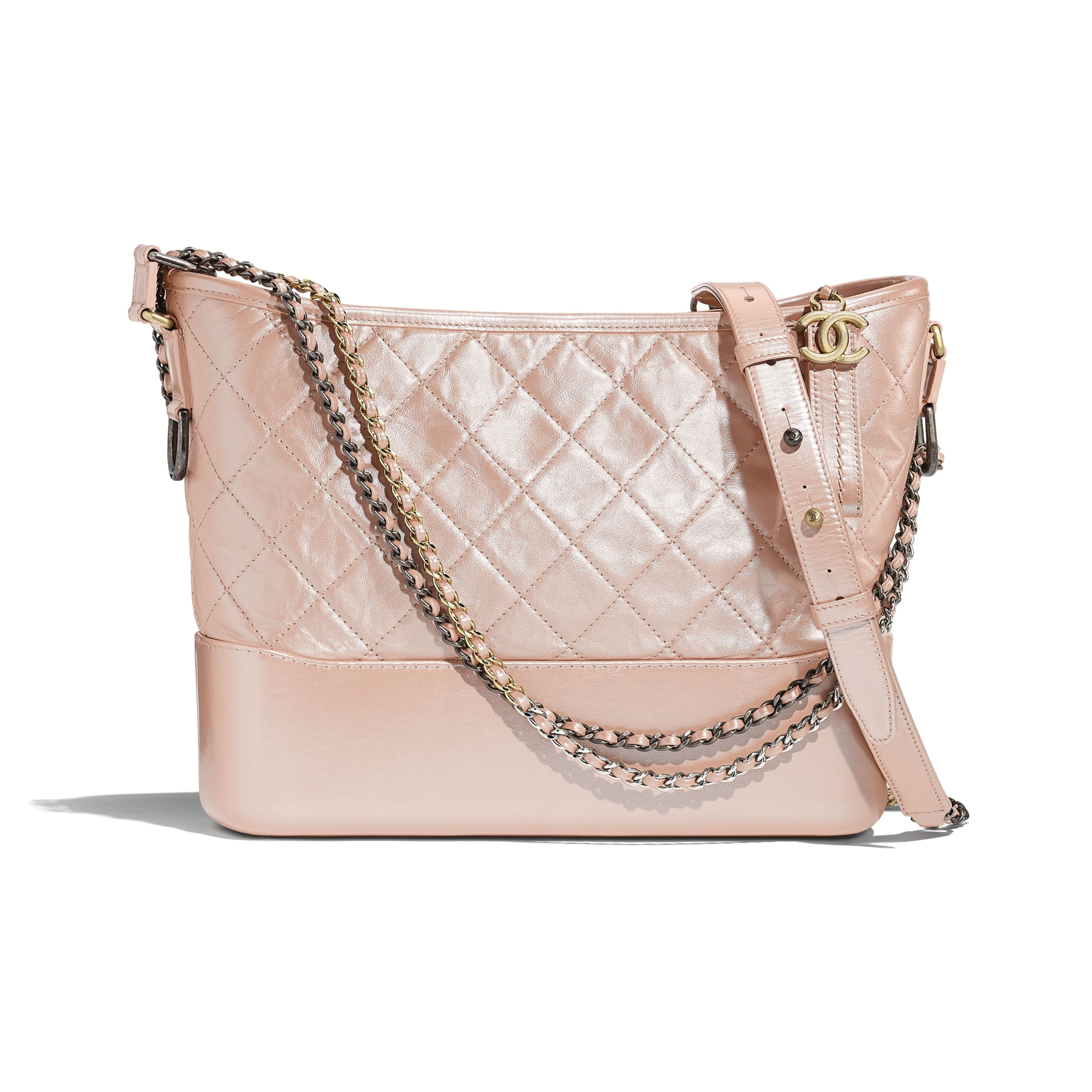 CHANEL'S GABRIELLE Hobo Bag - Light Pink - Iridescent Aged Calfskin, Gold-Tone & Silver-Tone Metal - Default view - see standard sized version