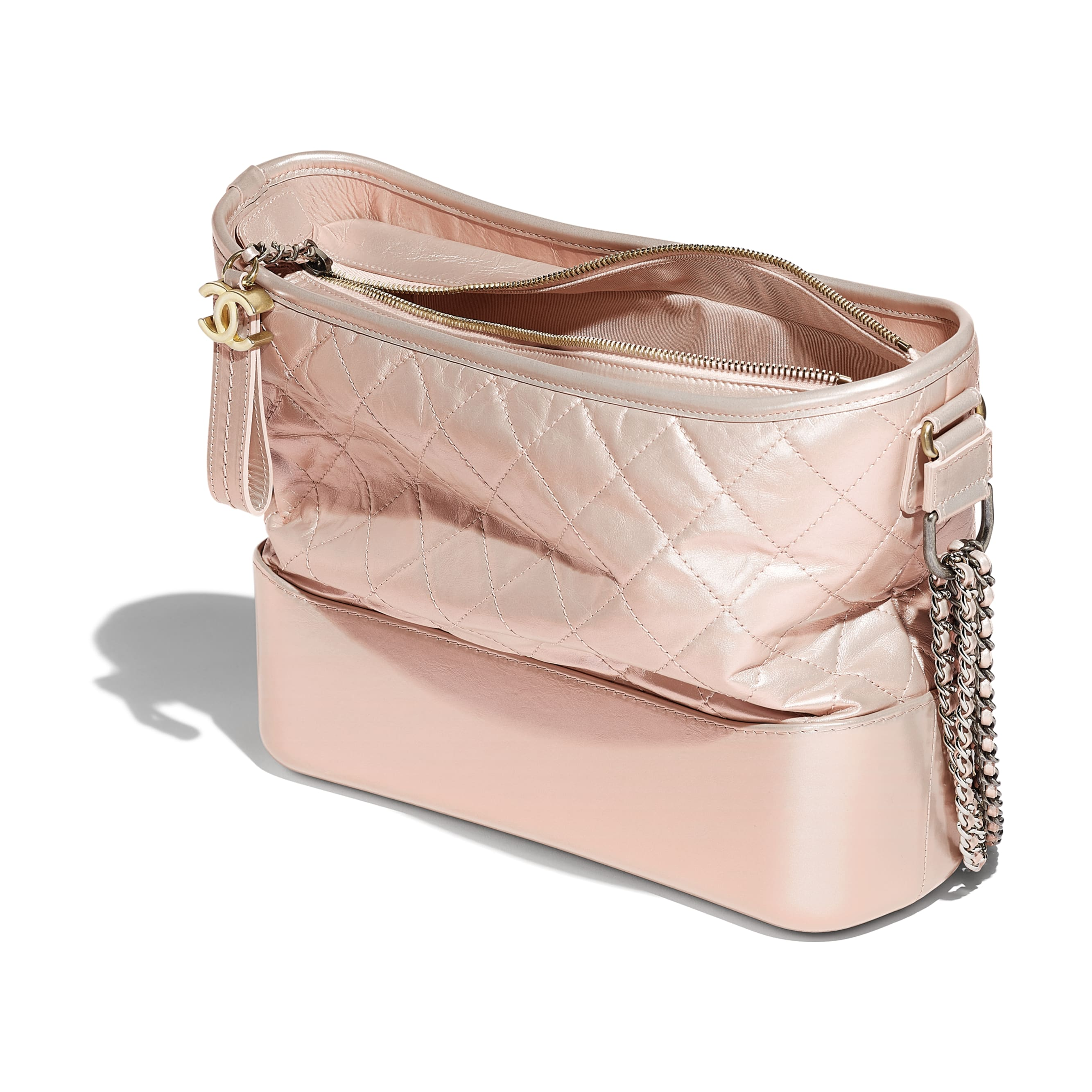 CHANEL'S GABRIELLE Hobo Bag - Light Pink - Iridescent Aged Calfskin, Gold-Tone & Silver-Tone Metal - Other view - see standard sized version