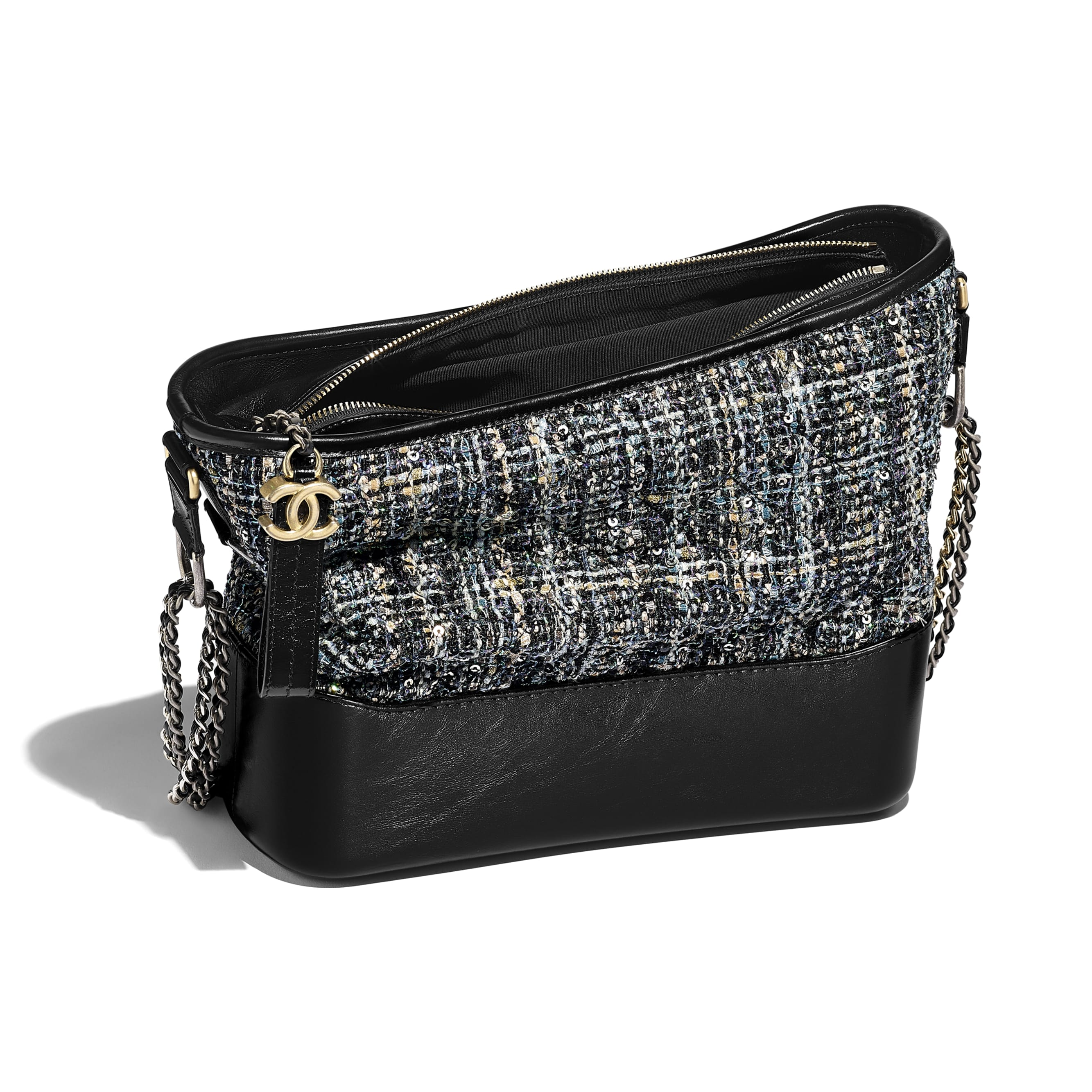 CHANEL'S GABRIELLE Hobo Bag - Navy, Green, Black & Ecru - Tweed, Calfskin, Gold-Tone & Silver-Tone Metal - Other view - see standard sized version