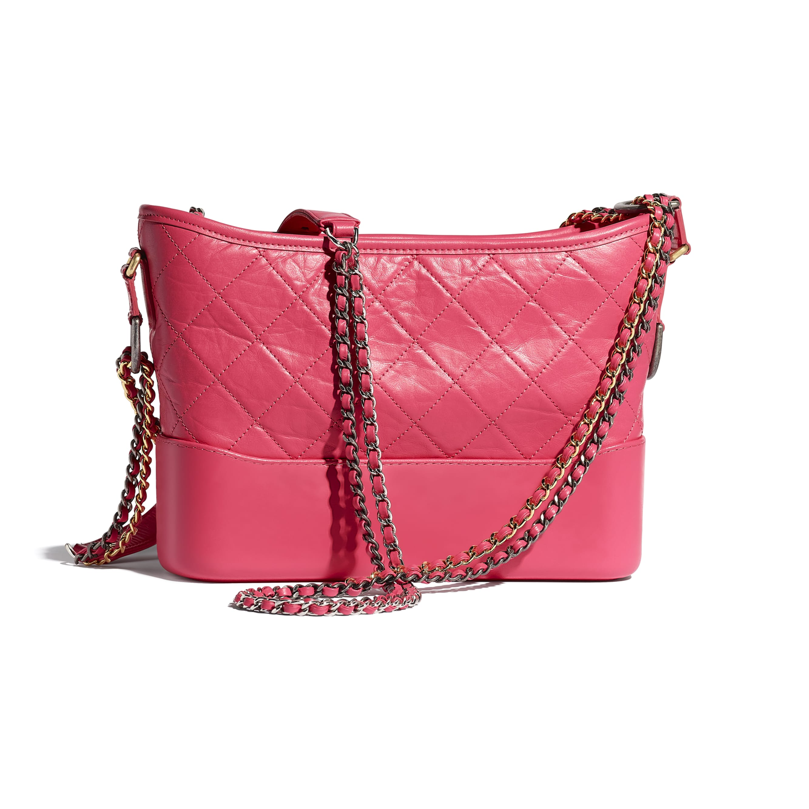 CHANEL'S GABRIELLE Hobo Handbag - Pink - Aged Calfskin, Smooth Calfskin, Gold-Tone, Silver-Tone & Ruthenium-Finish Metal - CHANEL - Alternative view - see standard sized version