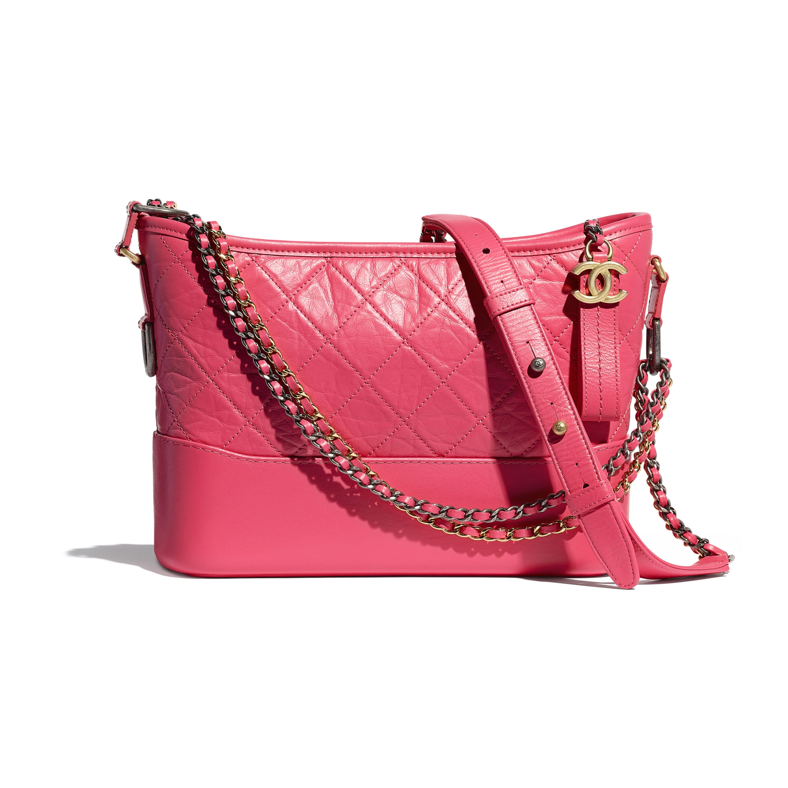 CHANEL'S GABRIELLE Hobo Handbag - Pink - Aged Calfskin, Smooth Calfskin, Gold-Tone, Silver-Tone & Ruthenium-Finish Metal - CHANEL - Default view - see standard sized version