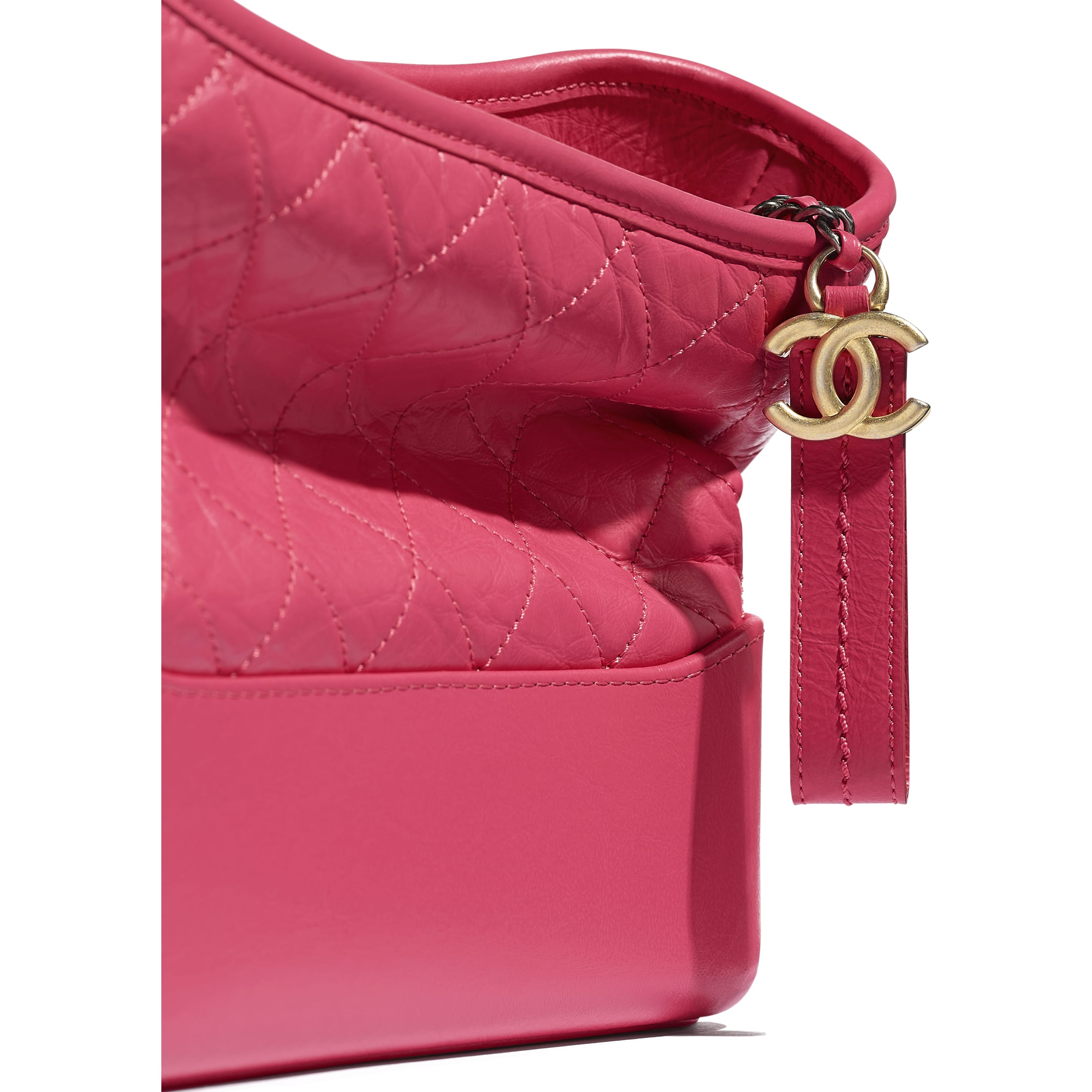 CHANEL'S GABRIELLE Hobo Handbag - Pink - Aged Calfskin, Smooth Calfskin, Gold-Tone, Silver-Tone & Ruthenium-Finish Metal - CHANEL - Extra view - see standard sized version