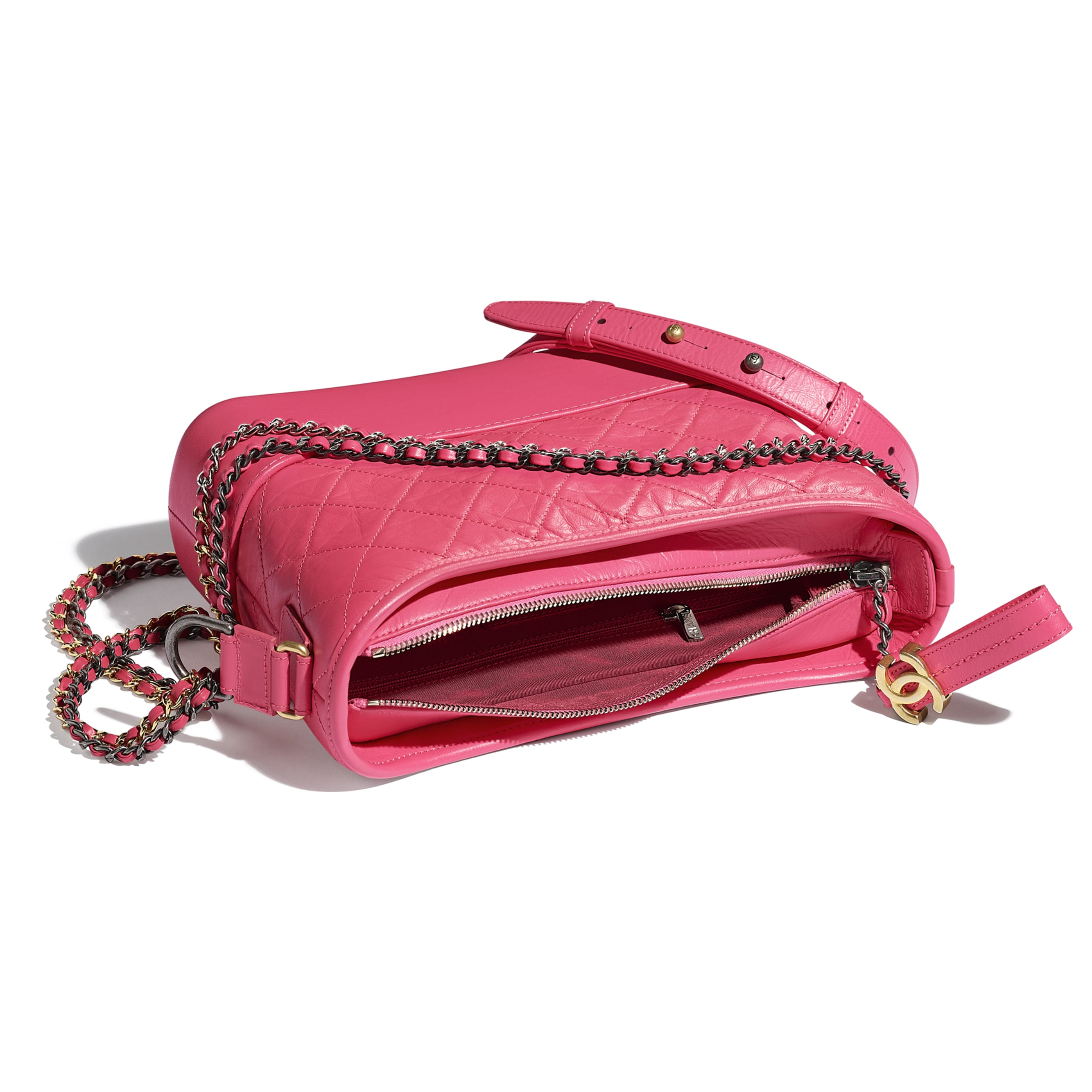 CHANEL'S GABRIELLE Hobo Handbag - Pink - Aged Calfskin, Smooth Calfskin, Gold-Tone, Silver-Tone & Ruthenium-Finish Metal - CHANEL - Other view - see standard sized version