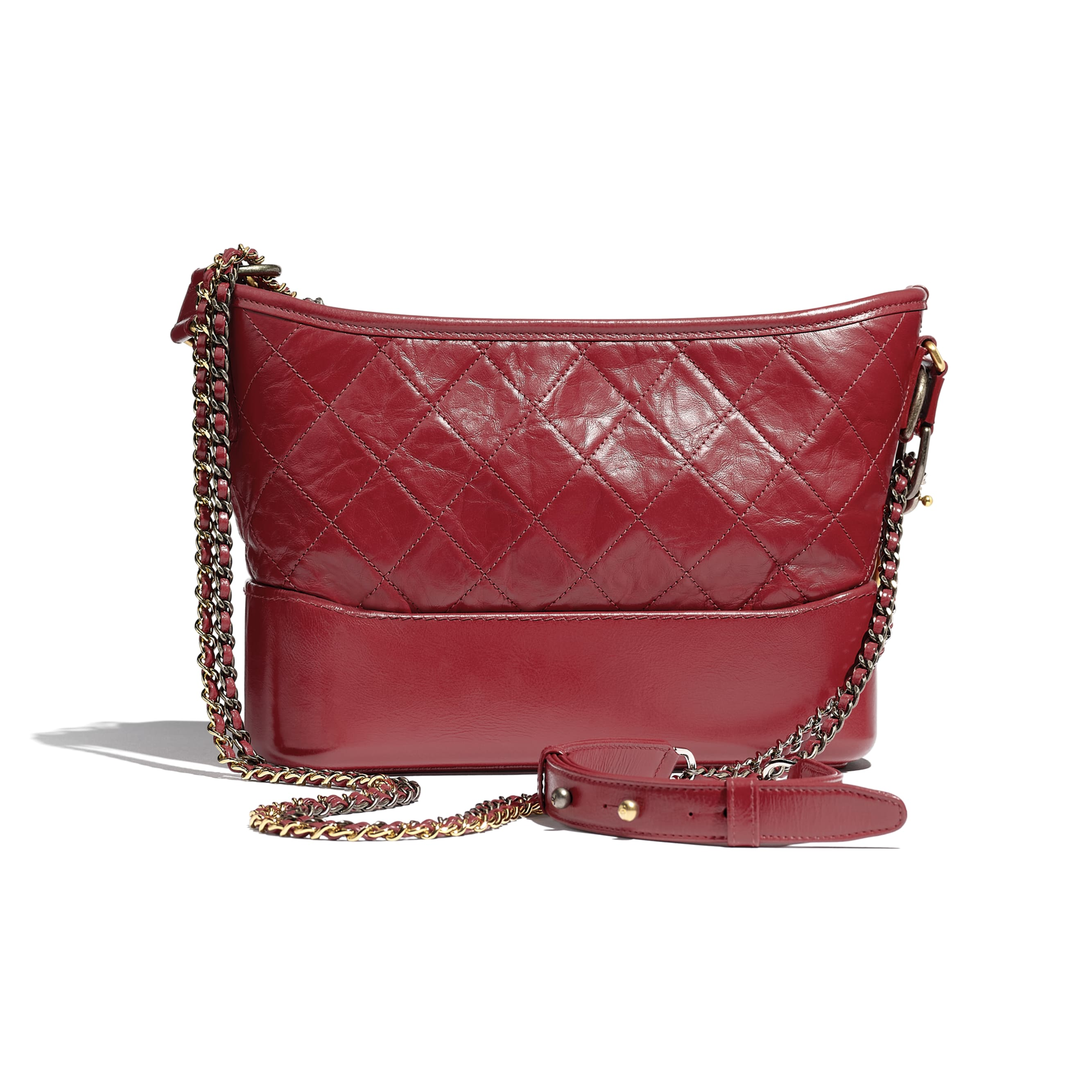 CHANEL'S GABRIELLE Hobo Handbag - Red - Aged Calfskin, Smooth Calfskin, Gold-Tone, Silver-Tone & Ruthenium-Finish Metal - CHANEL - Alternative view - see standard sized version