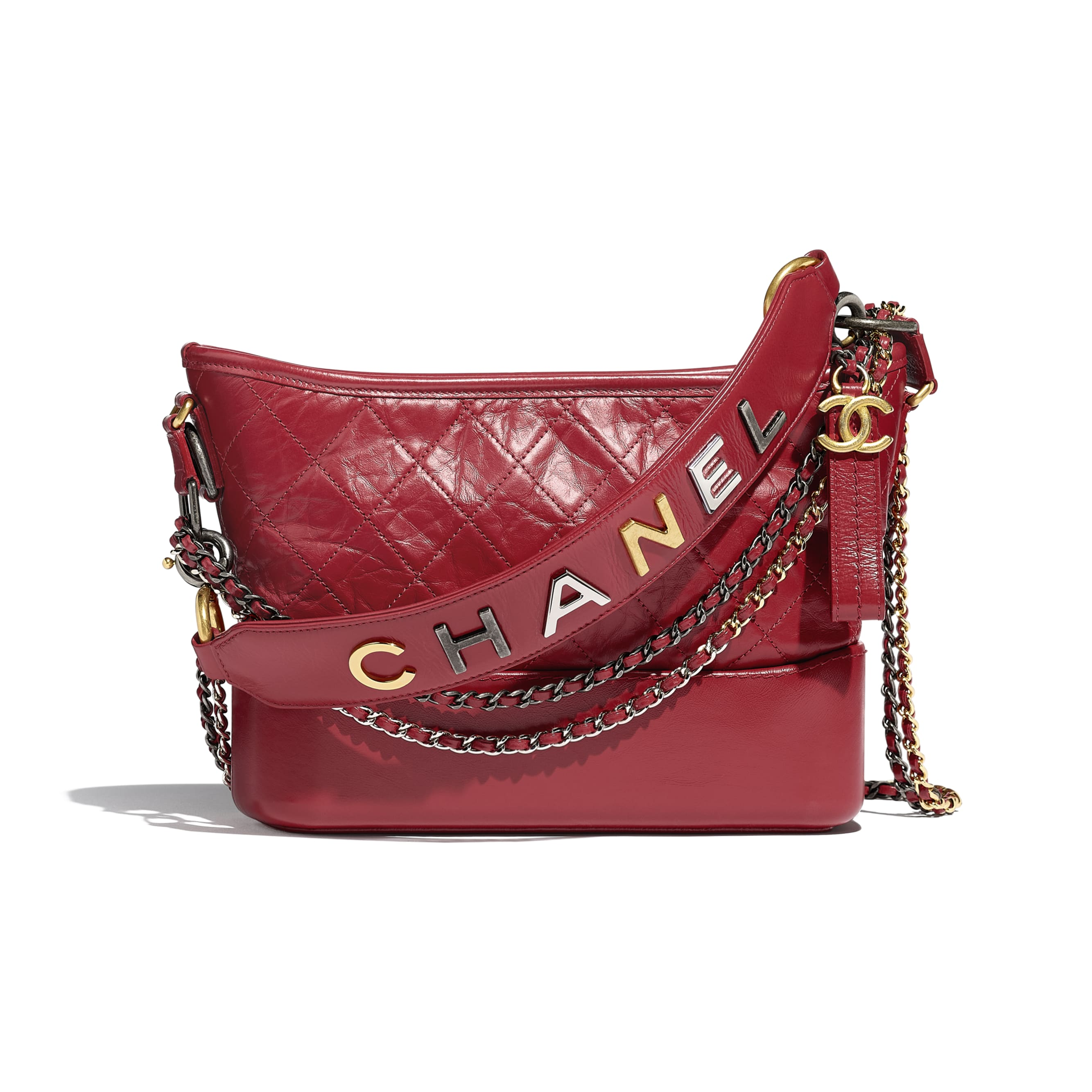 CHANEL'S GABRIELLE Hobo Handbag - Red - Aged Calfskin, Smooth Calfskin, Gold-Tone, Silver-Tone & Ruthenium-Finish Metal - CHANEL - Default view - see standard sized version