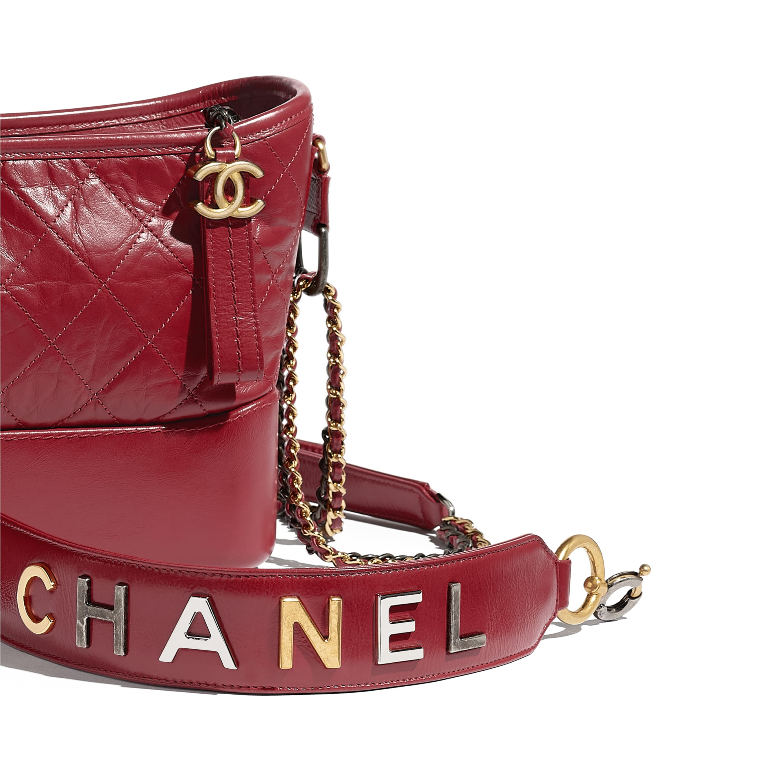 CHANEL'S GABRIELLE Hobo Handbag - Red - Aged Calfskin, Smooth Calfskin, Gold-Tone, Silver-Tone & Ruthenium-Finish Metal - CHANEL - Extra view - see standard sized version