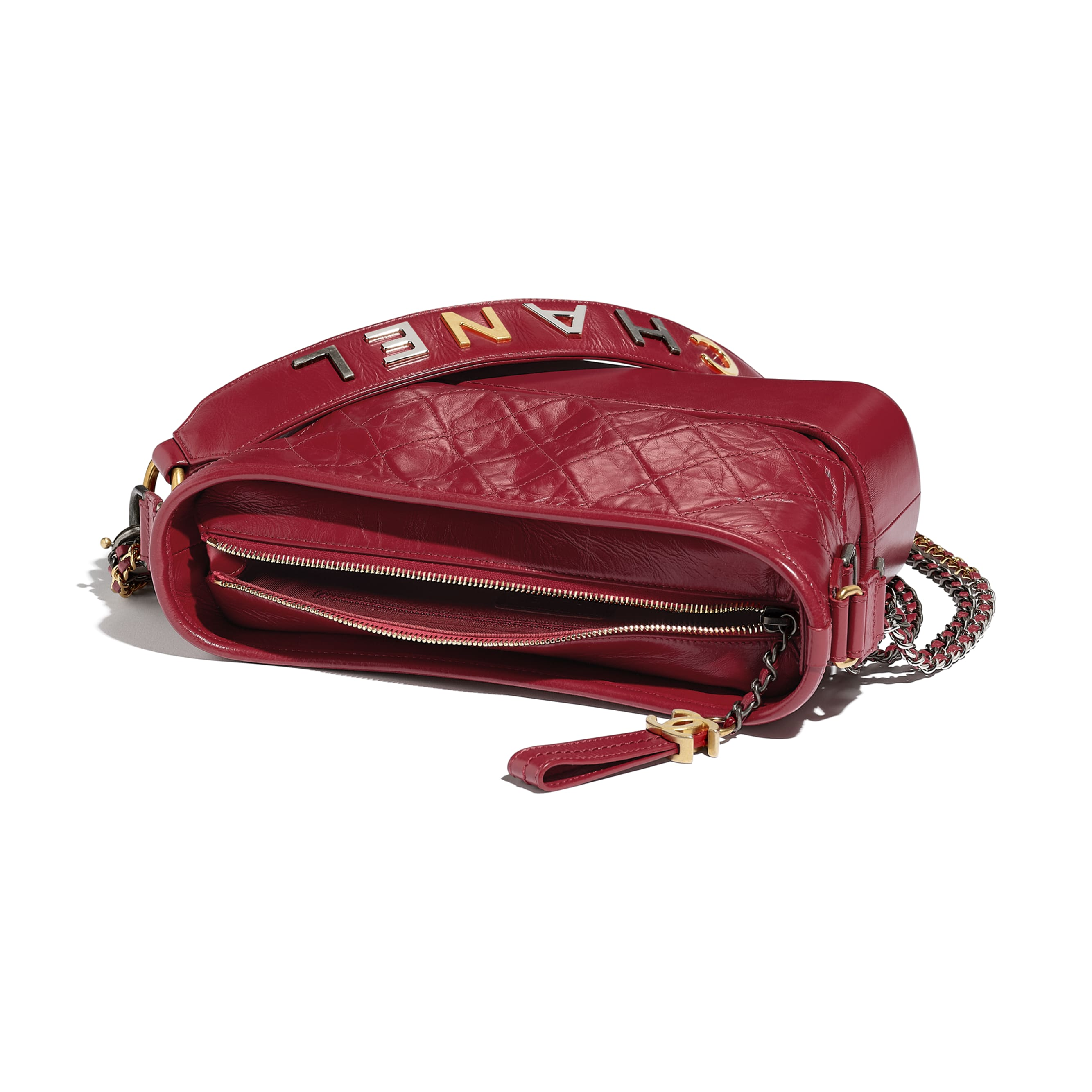 CHANEL'S GABRIELLE Hobo Handbag - Red - Aged Calfskin, Smooth Calfskin, Gold-Tone, Silver-Tone & Ruthenium-Finish Metal - CHANEL - Other view - see standard sized version