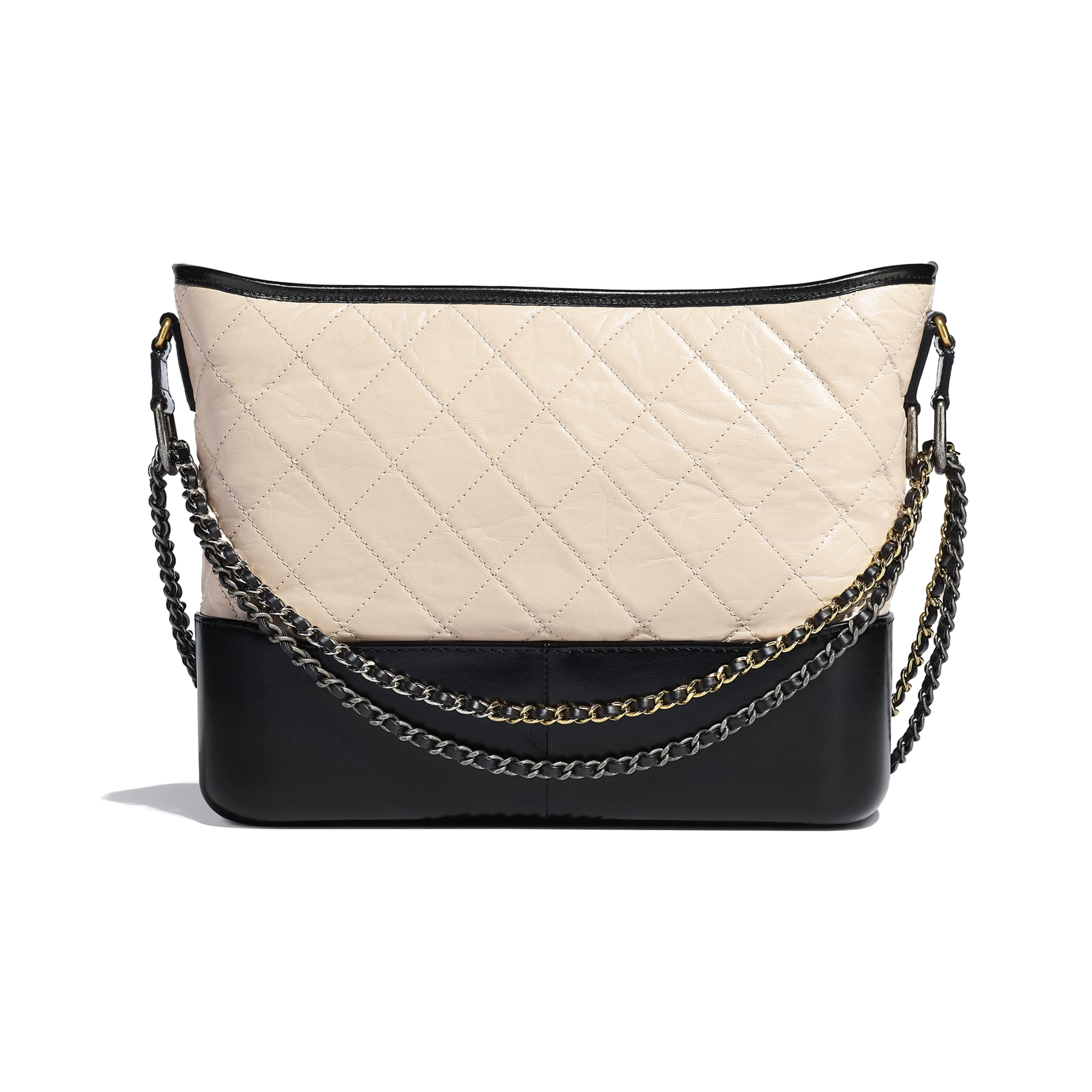 CHANEL'S GABRIELLE Large Hobo Bag - Beige & Black - Aged Calfskin, Smooth Calfskin, Gold-Tone, Silver-Tone & Ruthenium-Finish Metal - CHANEL - Alternative view - see standard sized version