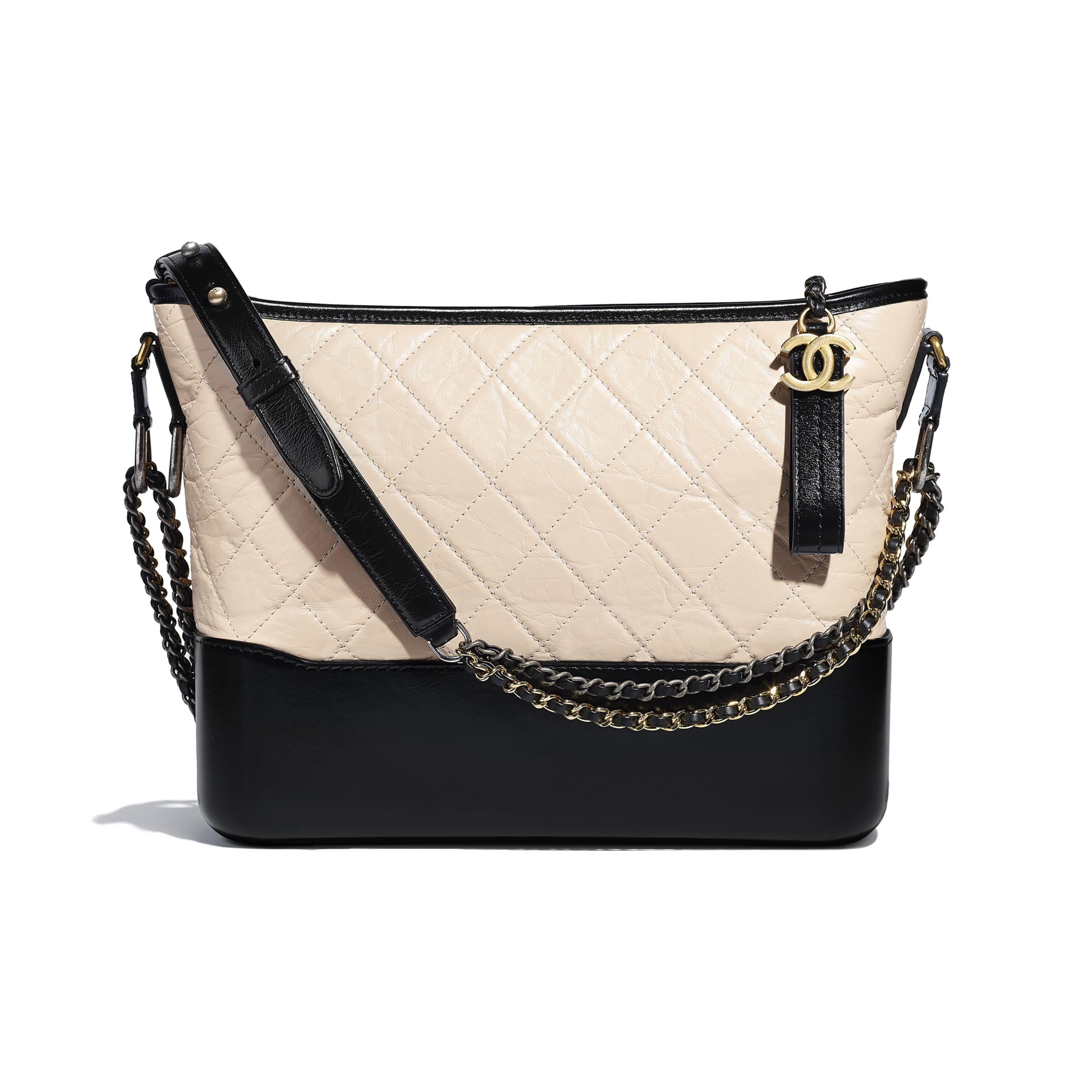 CHANEL'S GABRIELLE Large Hobo Bag - Beige & Black - Aged Calfskin, Smooth Calfskin, Gold-Tone, Silver-Tone & Ruthenium-Finish Metal - CHANEL - Default view - see standard sized version