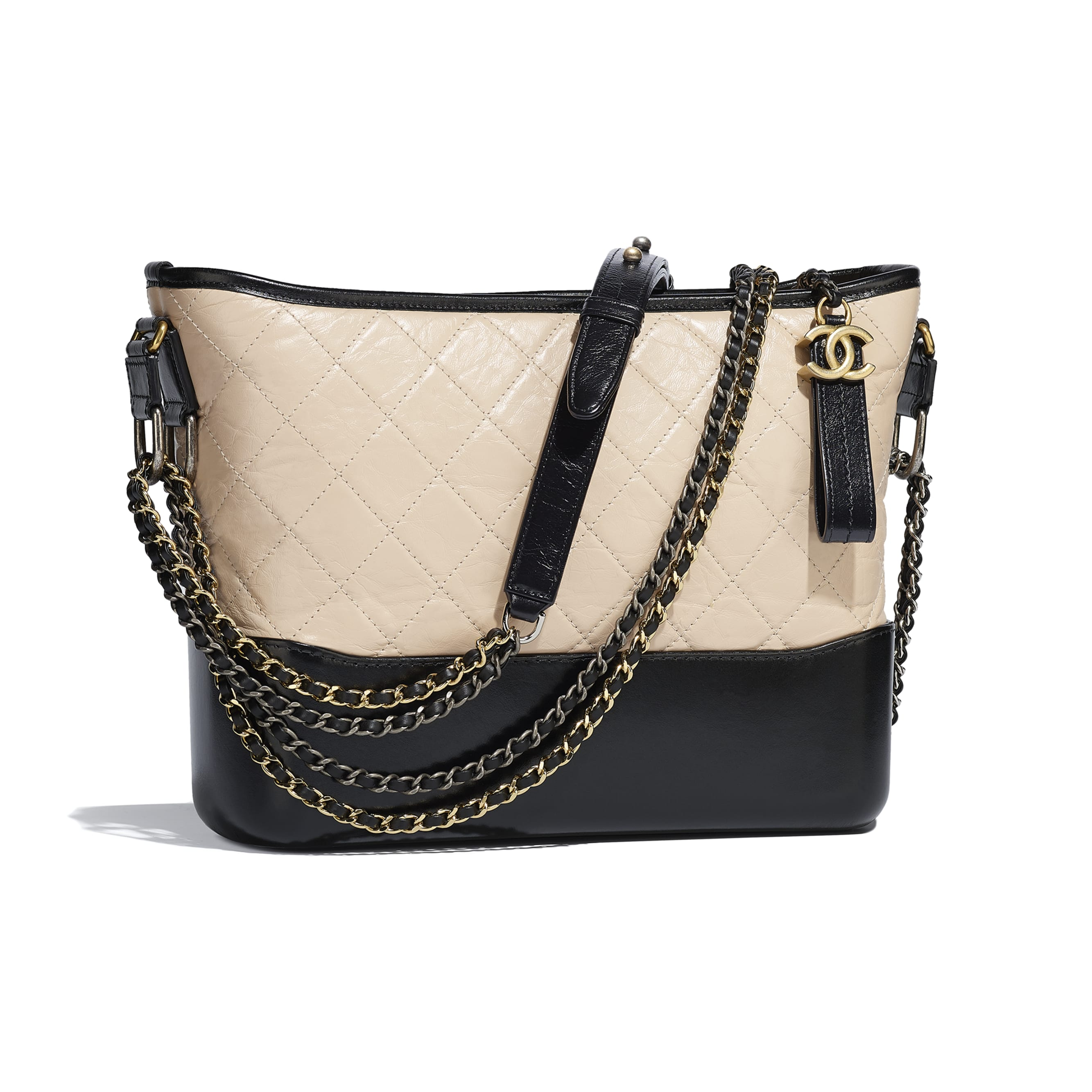 CHANEL'S GABRIELLE Large Hobo Bag - Beige & Black - Aged Calfskin, Smooth Calfskin, Gold-Tone, Silver-Tone & Ruthenium-Finish Metal - CHANEL - Other view - see standard sized version