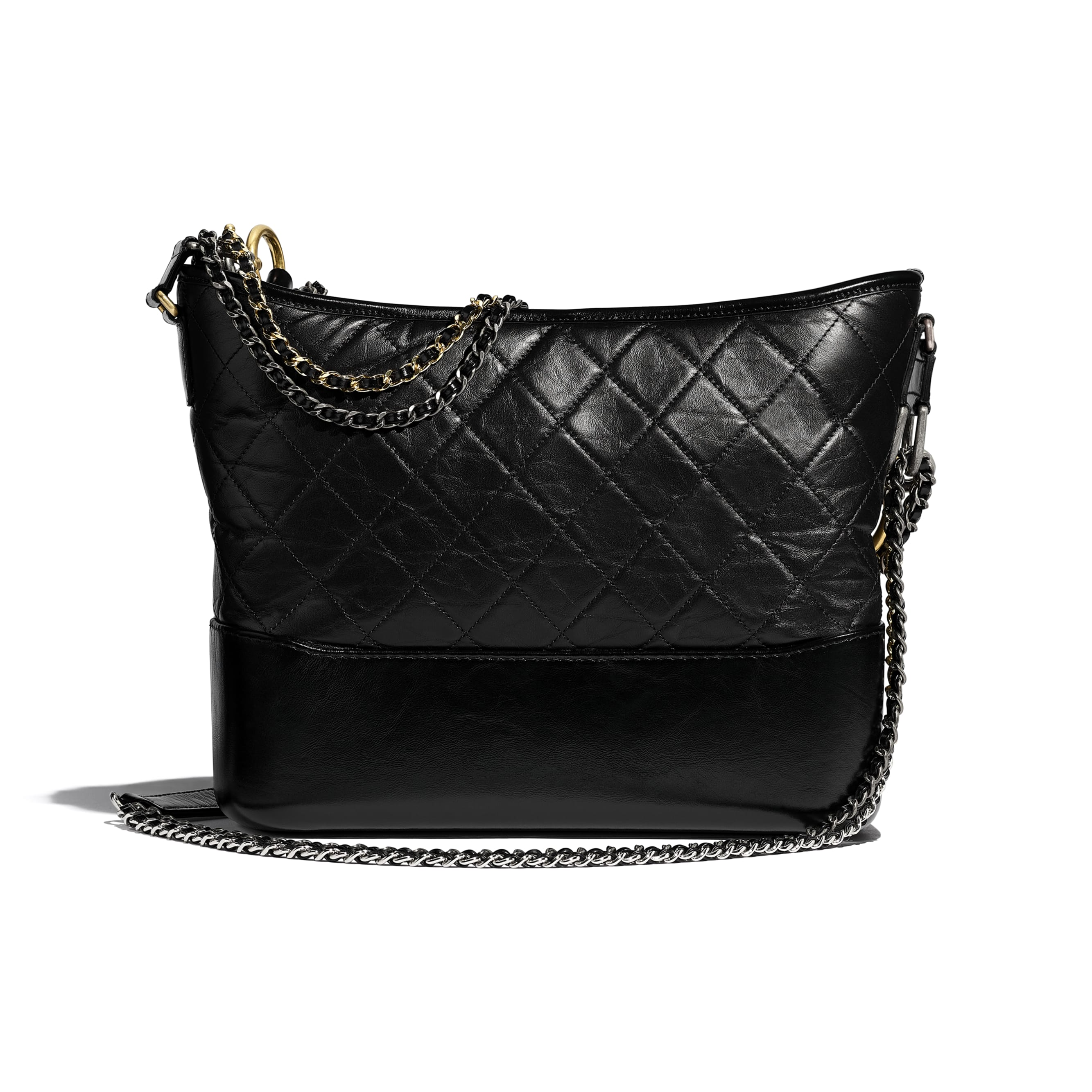 CHANEL'S GABRIELLE Large Hobo Bag - Black - Aged Calfskin, Smooth Calfskin, Gold-Tone & Silver-Tone Metal - Alternative view - see standard sized version