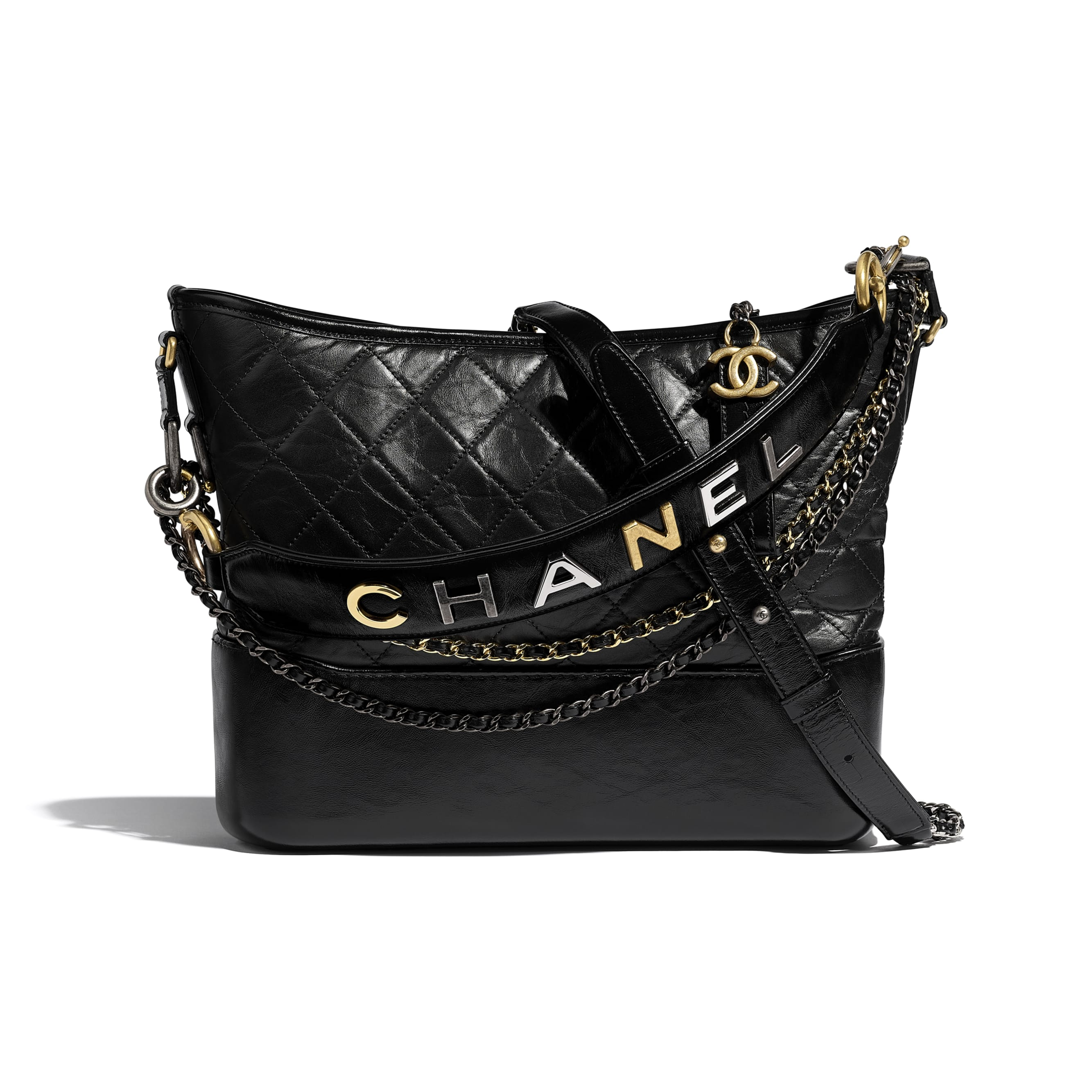 CHANEL'S GABRIELLE Large Hobo Bag - Black - Aged Calfskin, Smooth Calfskin, Gold-Tone & Silver-Tone Metal - Default view - see standard sized version