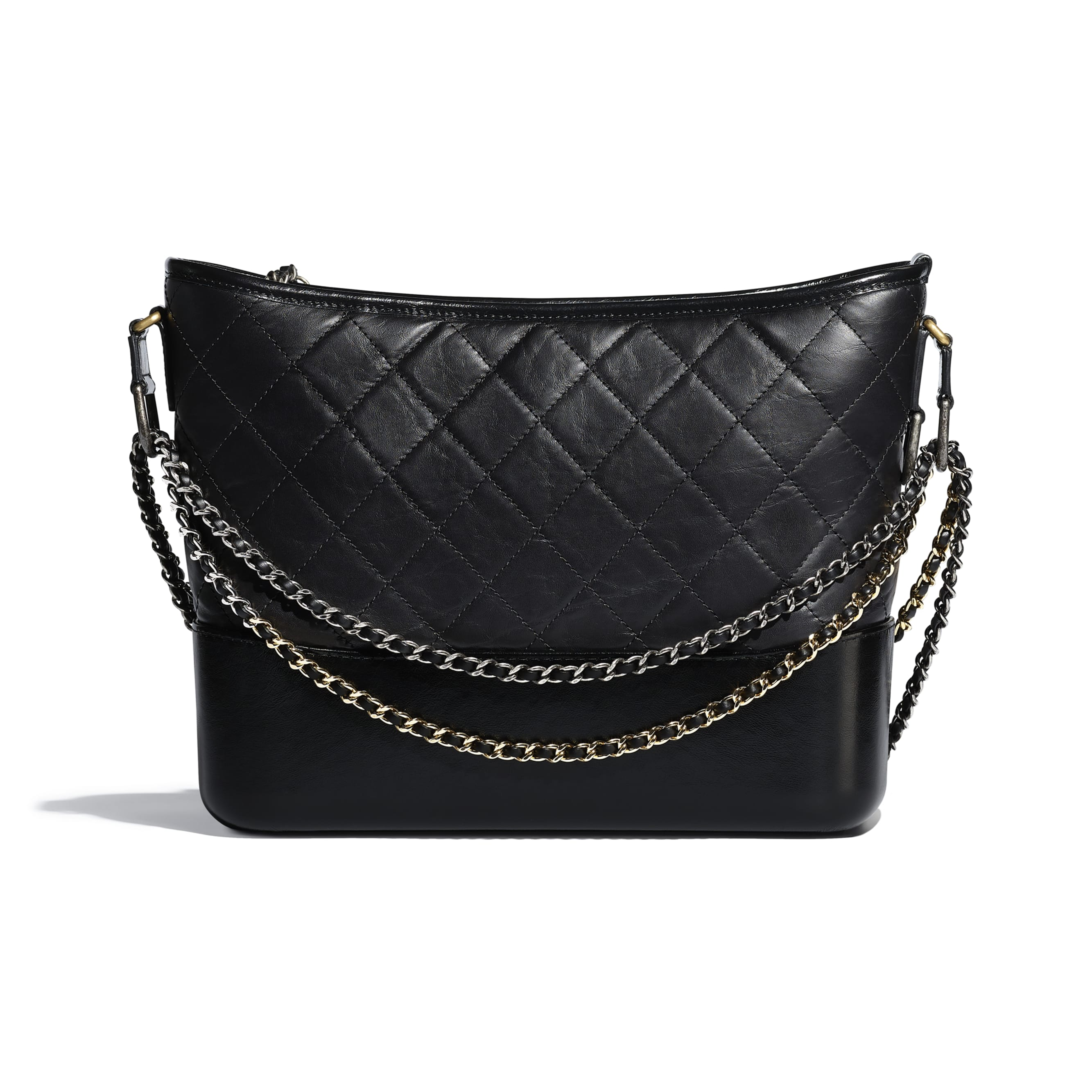 CHANEL'S GABRIELLE Large Hobo Bag - Black - Aged Calfskin, Smooth Calfskin, Gold-Tone, Silver-Tone & Ruthenium-Finish Metal - CHANEL - Alternative view - see standard sized version