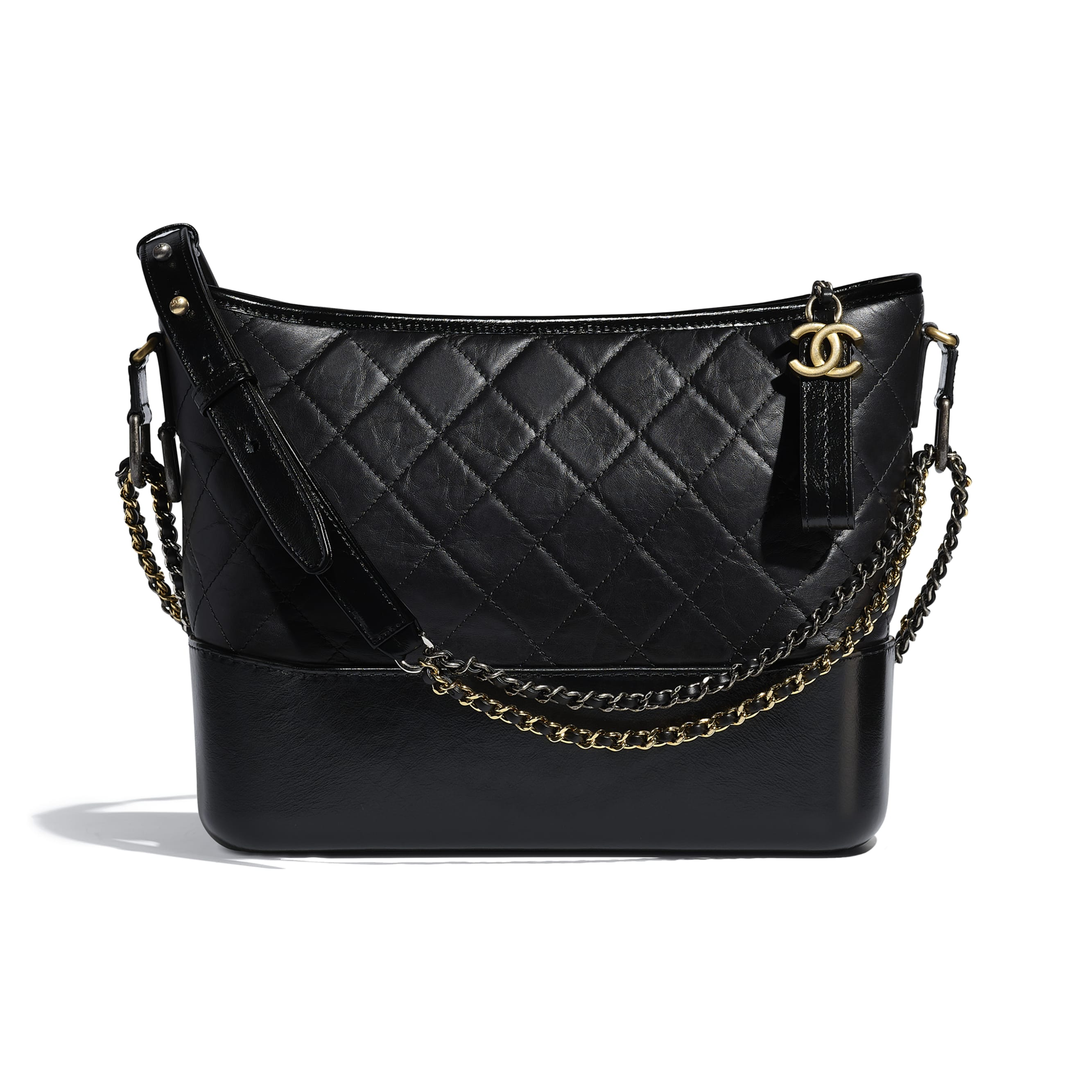 CHANEL'S GABRIELLE Large Hobo Bag - Black - Aged Calfskin, Smooth Calfskin, Gold-Tone, Silver-Tone & Ruthenium-Finish Metal - CHANEL - Default view - see standard sized version