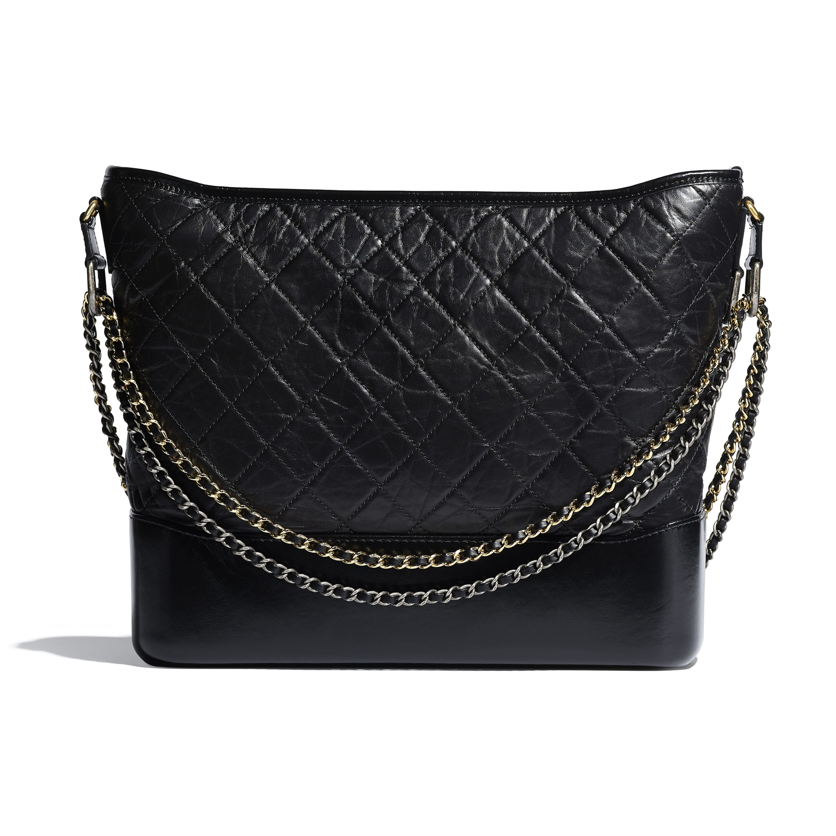 CHANEL'S GABRIELLE Large Hobo Bag - Black - Aged Calfskin, Smooth Calfskin, Silver-Tone & Gold-Tone Metal - Alternative view - see standard sized version